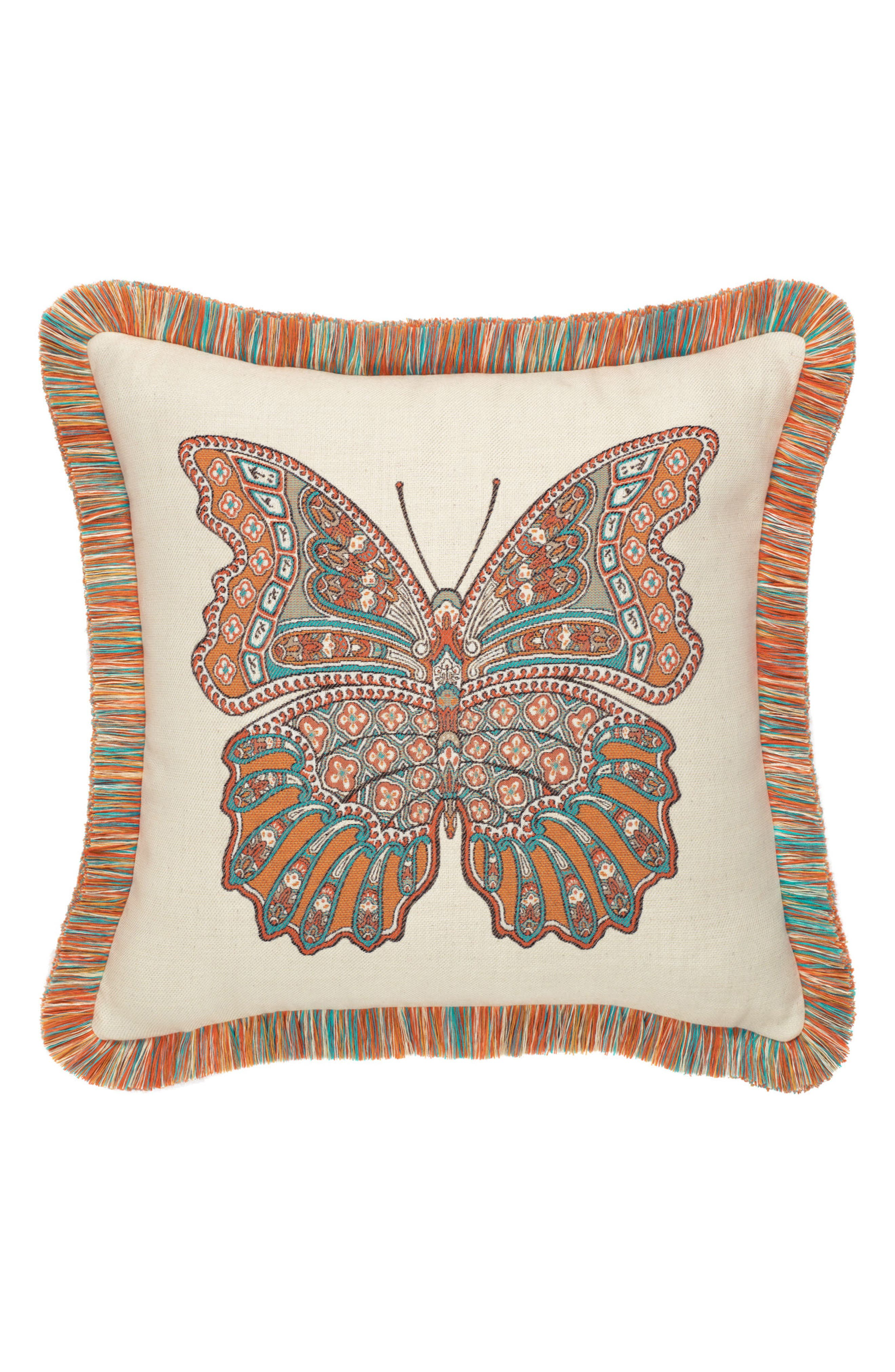 Mariposa Lagoon Indoor/Outdoor Accent Pillow,                         Main,                         color, Orange/ Ivory