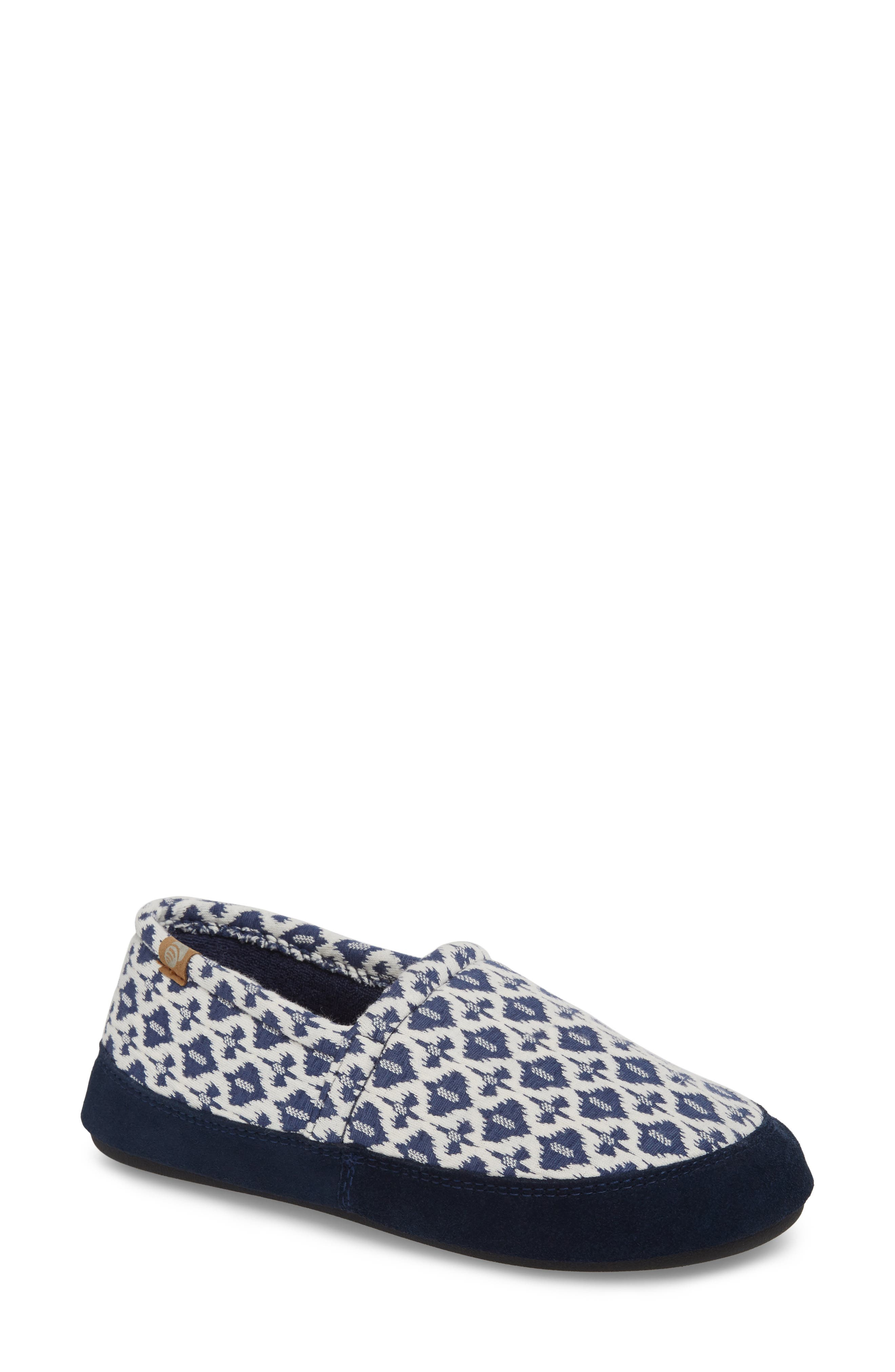 Summer Weight Moc Slipper,                         Main,                         color, Navy Tribal