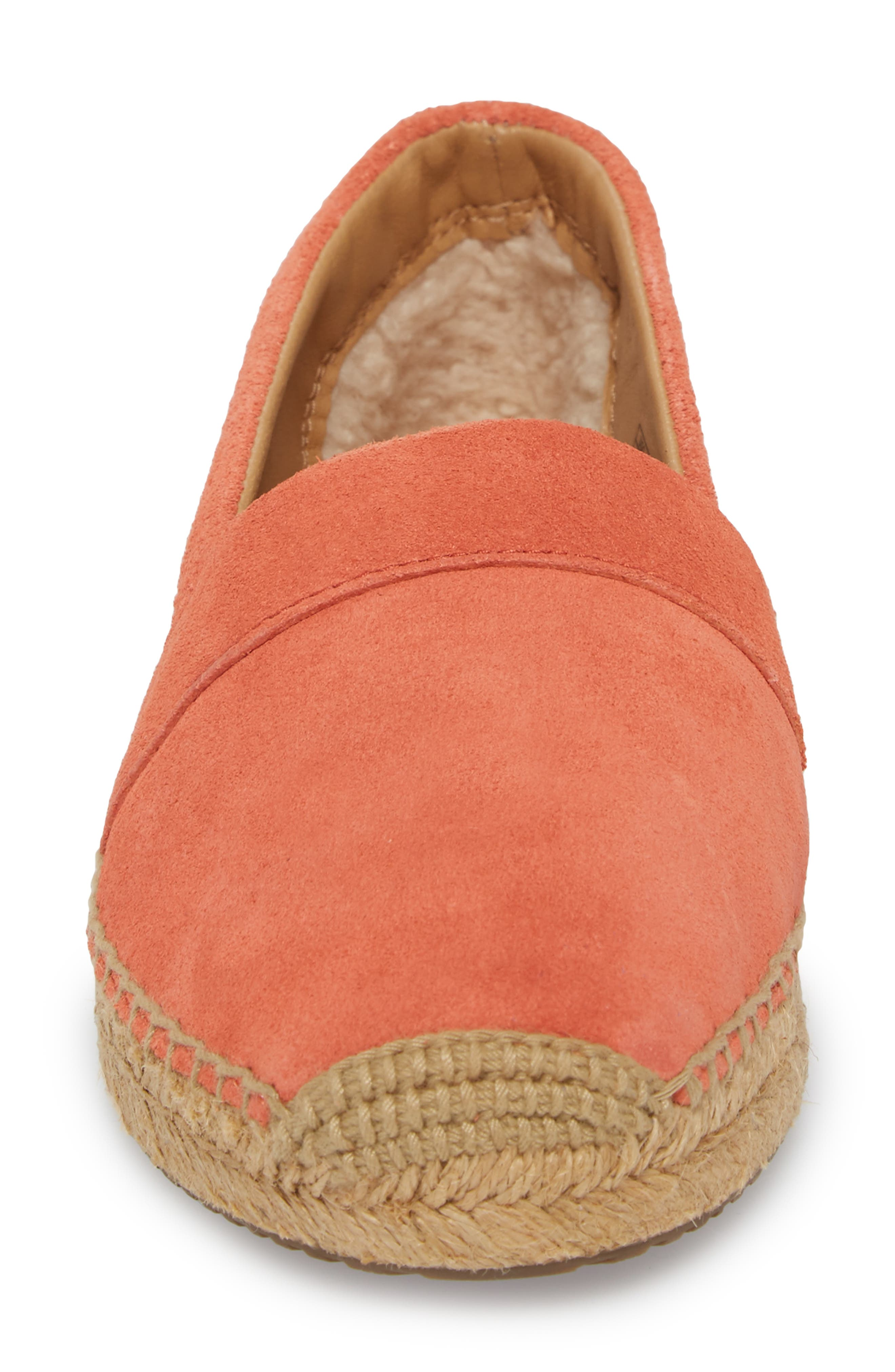 Reneda Espadrille Slip-On,                             Alternate thumbnail 4, color,                             Fusion Coral Suede