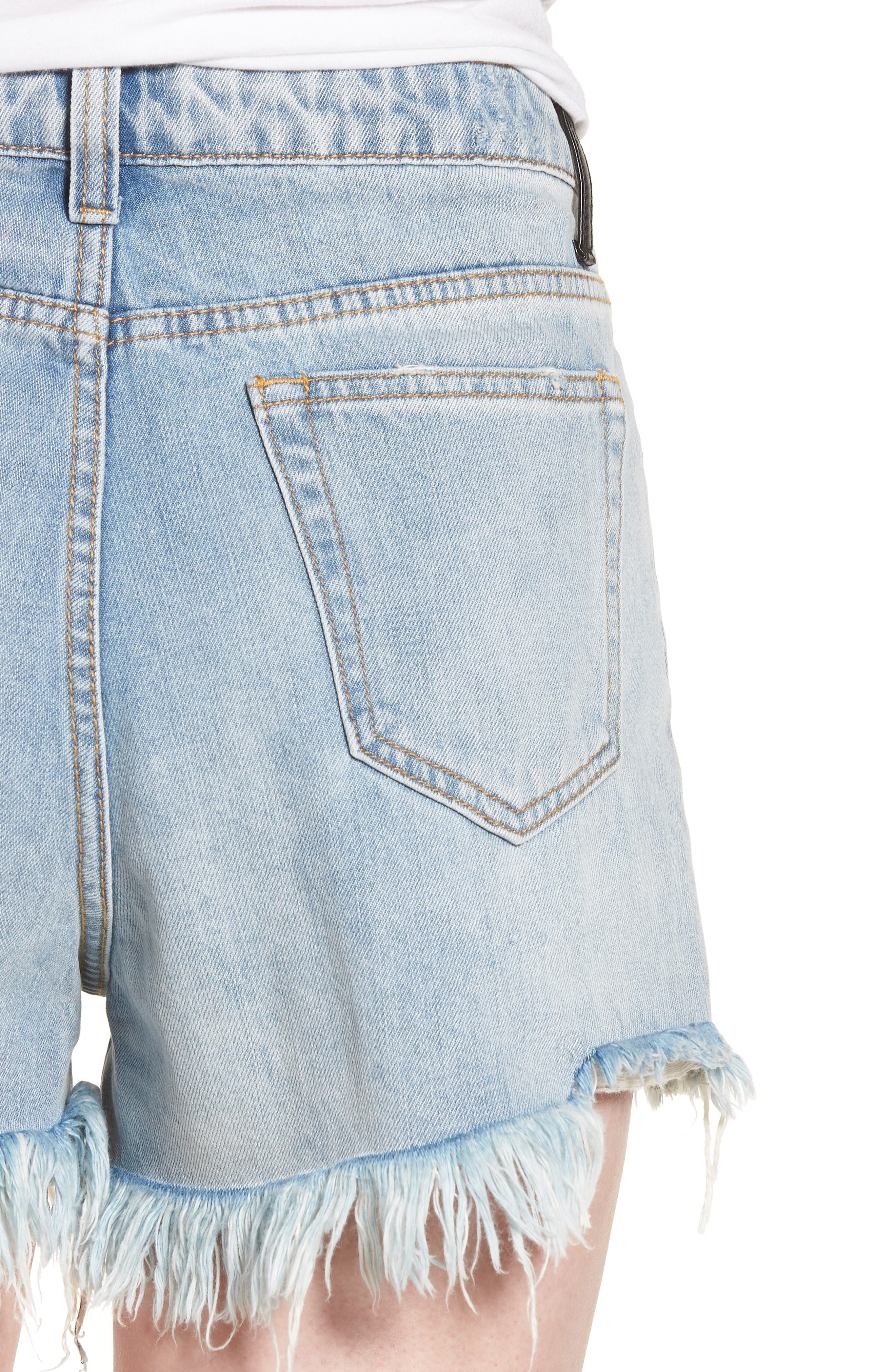Arien High Waist Cutoff Denim Shorts,                             Alternate thumbnail 4, color,                             Washed Blue