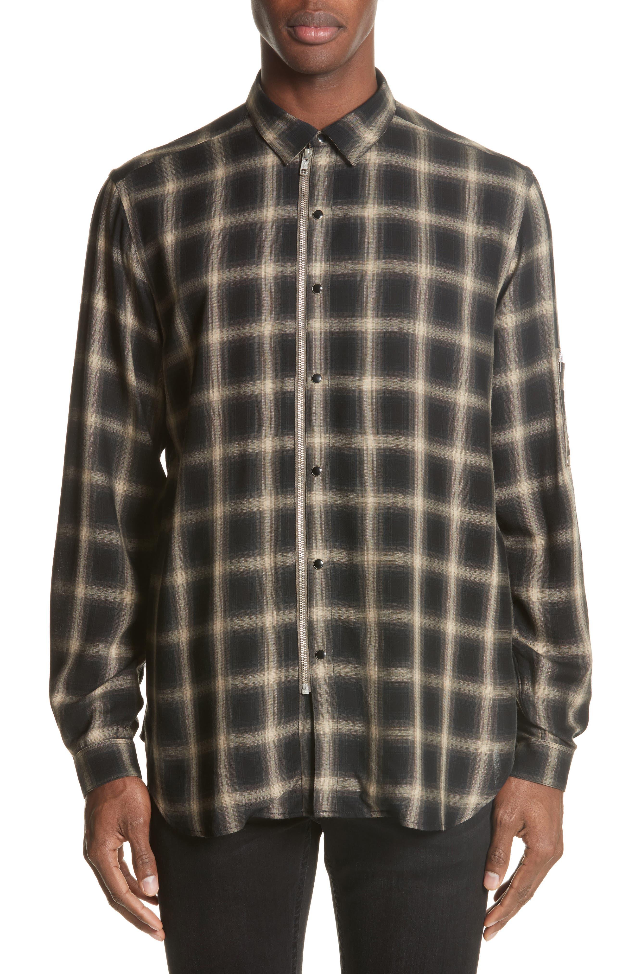 Check Woven Shirt,                             Main thumbnail 1, color,                             Grey