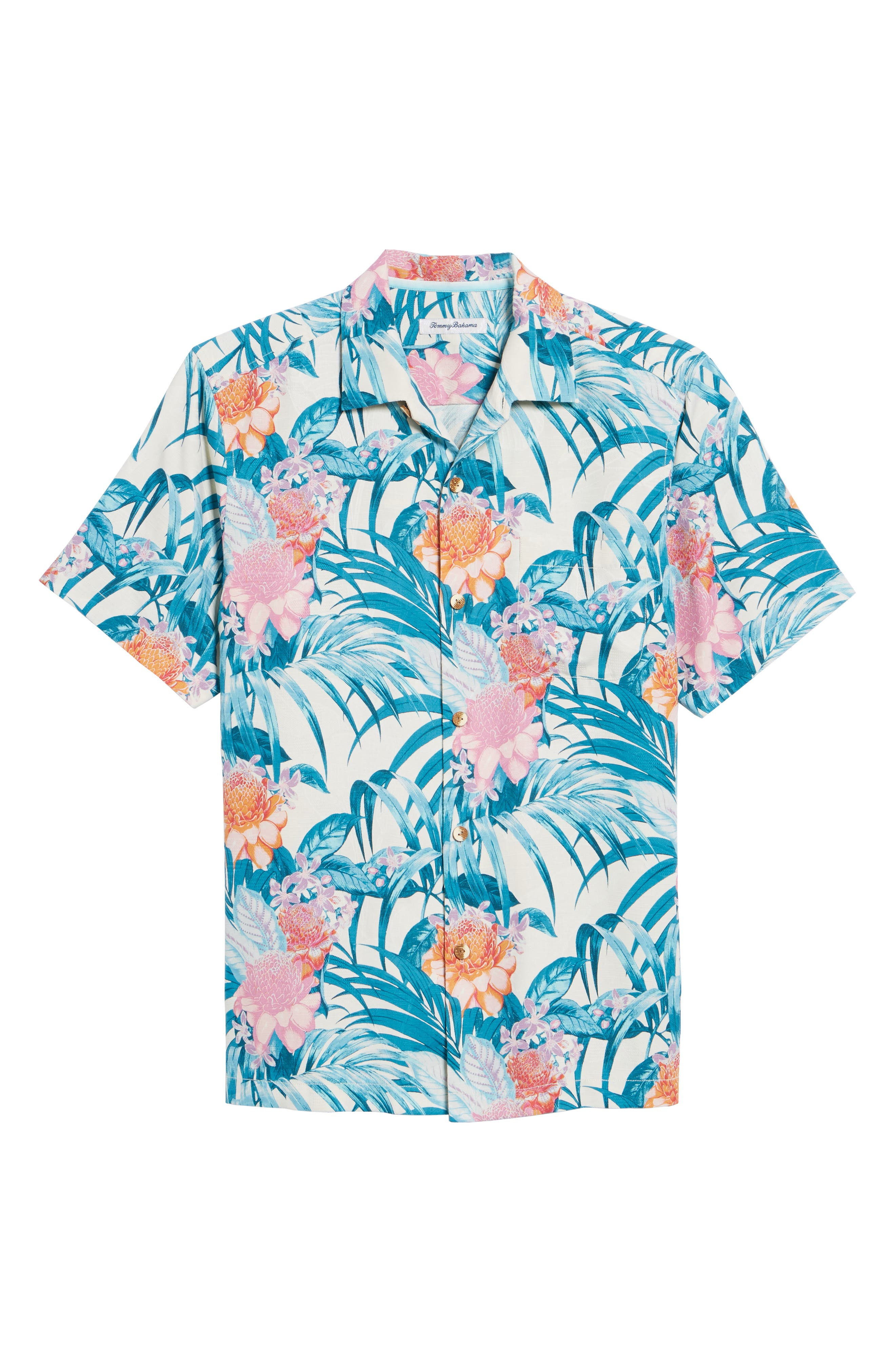 Garden of Hope and Courage Regular Fit Silk Blend Camp Shirt,                             Alternate thumbnail 6, color,                             Coconut Cream