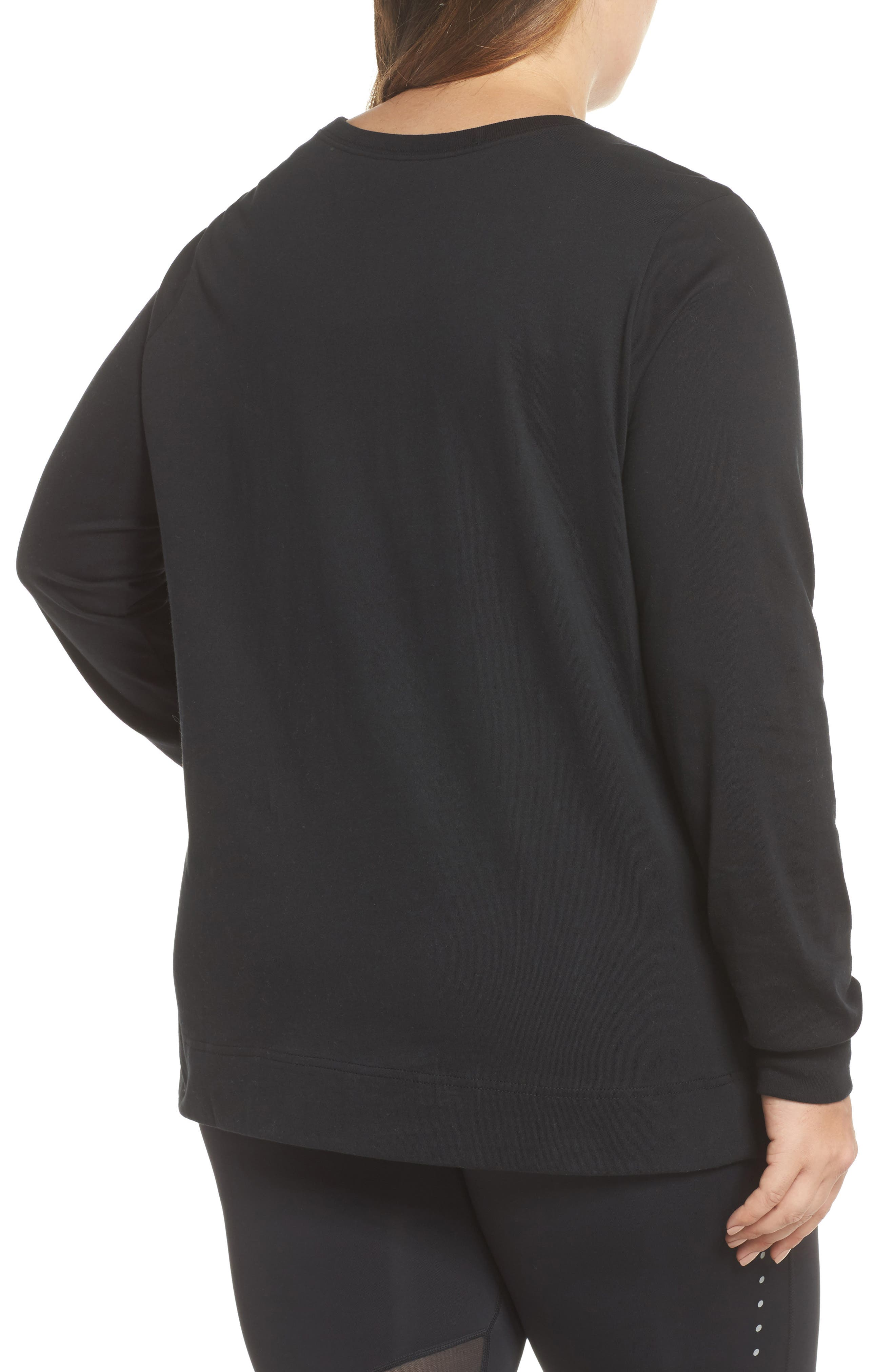 Sportswear Long Sleeve Tee,                             Alternate thumbnail 2, color,                             Black/ White