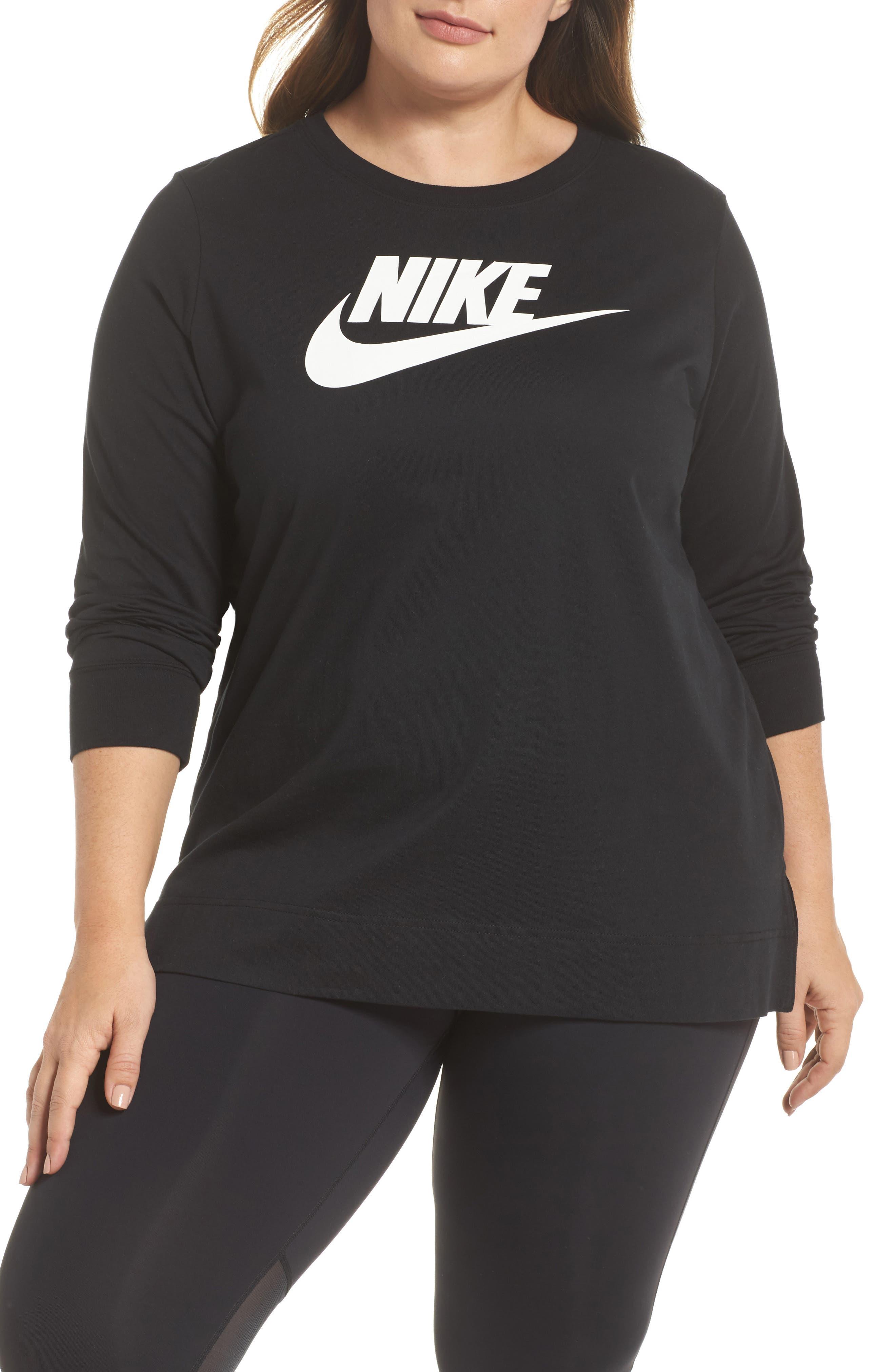 Sportswear Long Sleeve Tee,                         Main,                         color, Black/ White