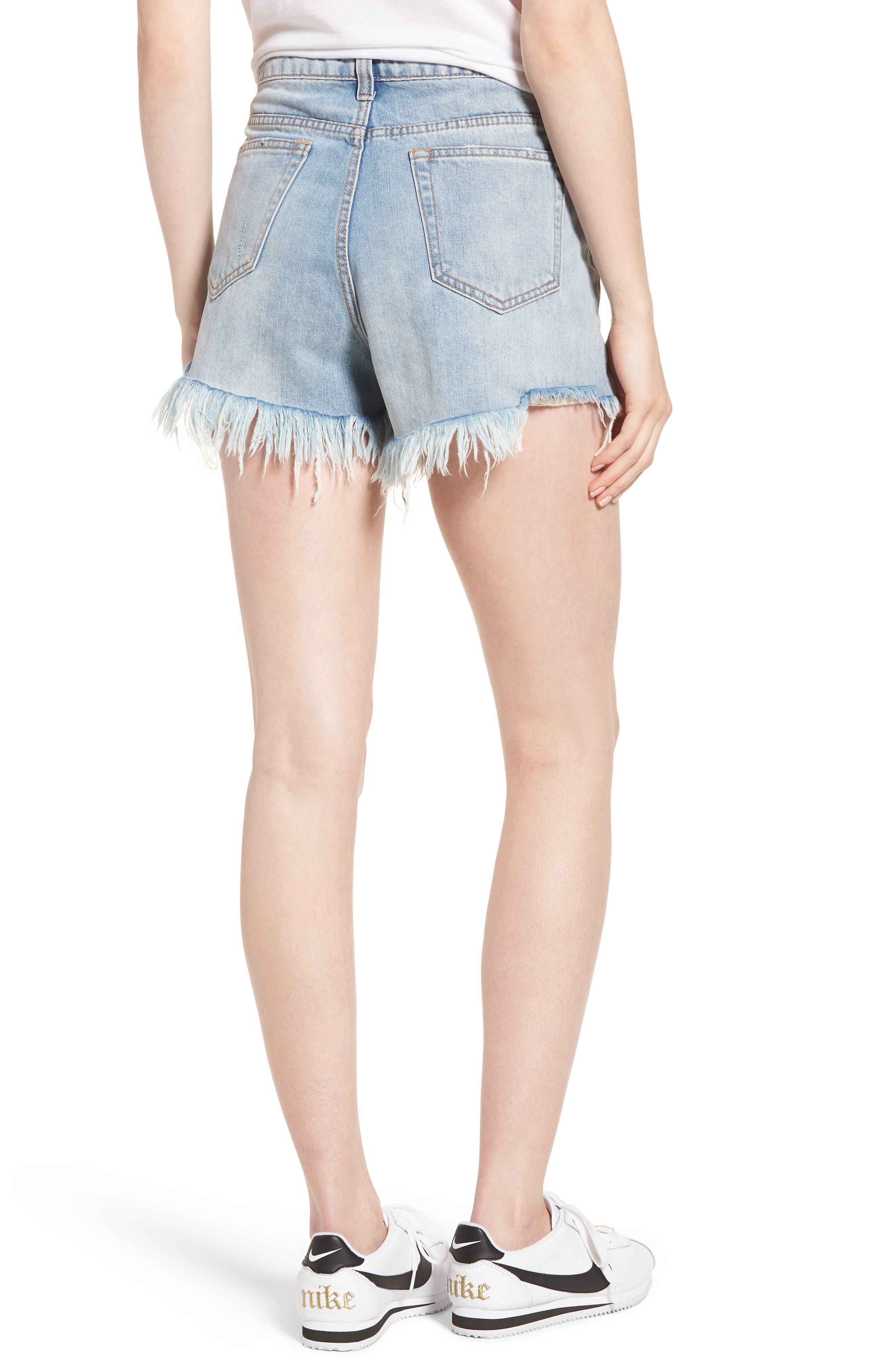 Arien High Waist Cutoff Denim Shorts,                             Alternate thumbnail 2, color,                             Washed Blue