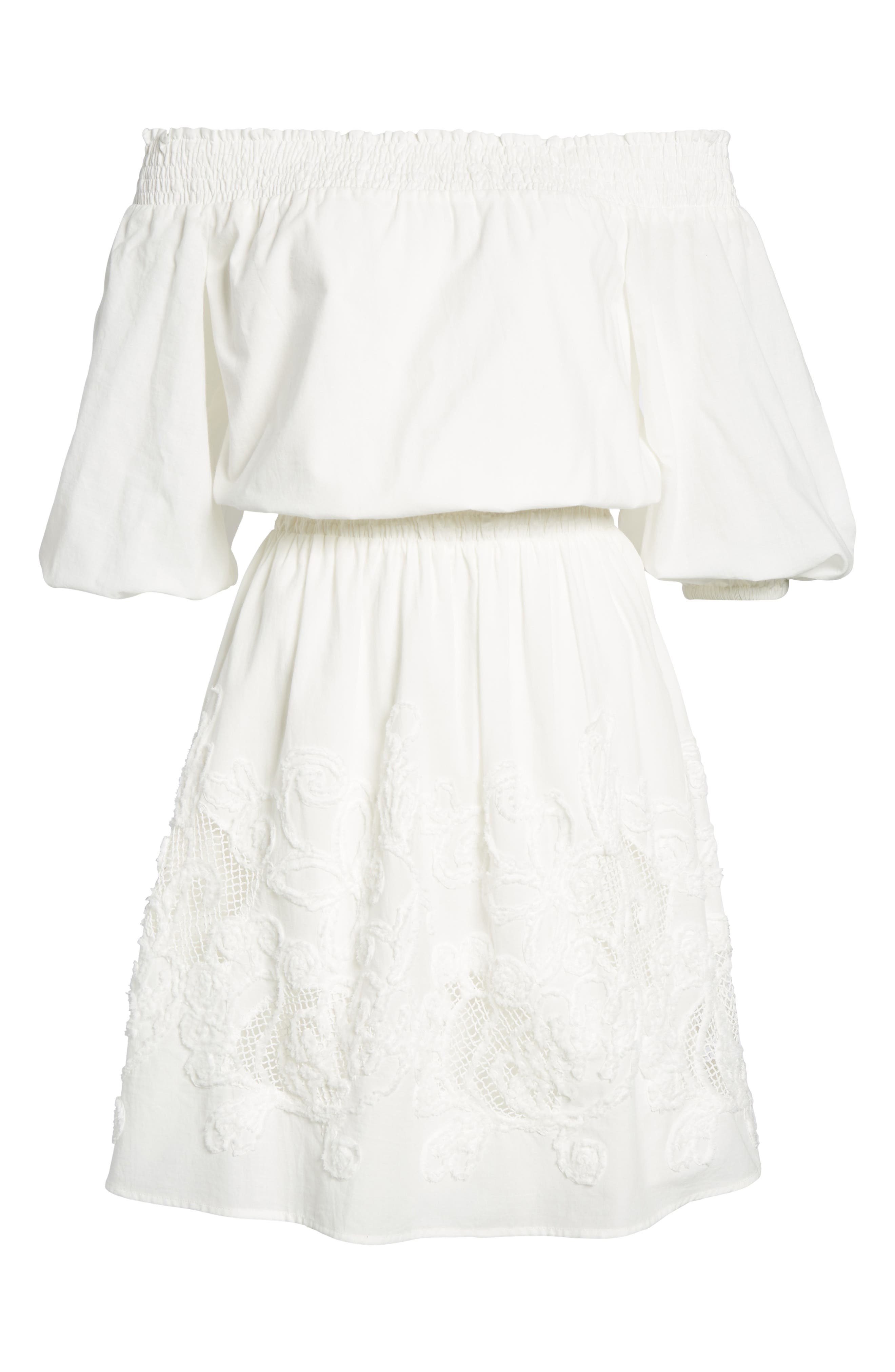 Embroidered Off the Shoulder Blouson Dress,                             Alternate thumbnail 6, color,                             White Snow