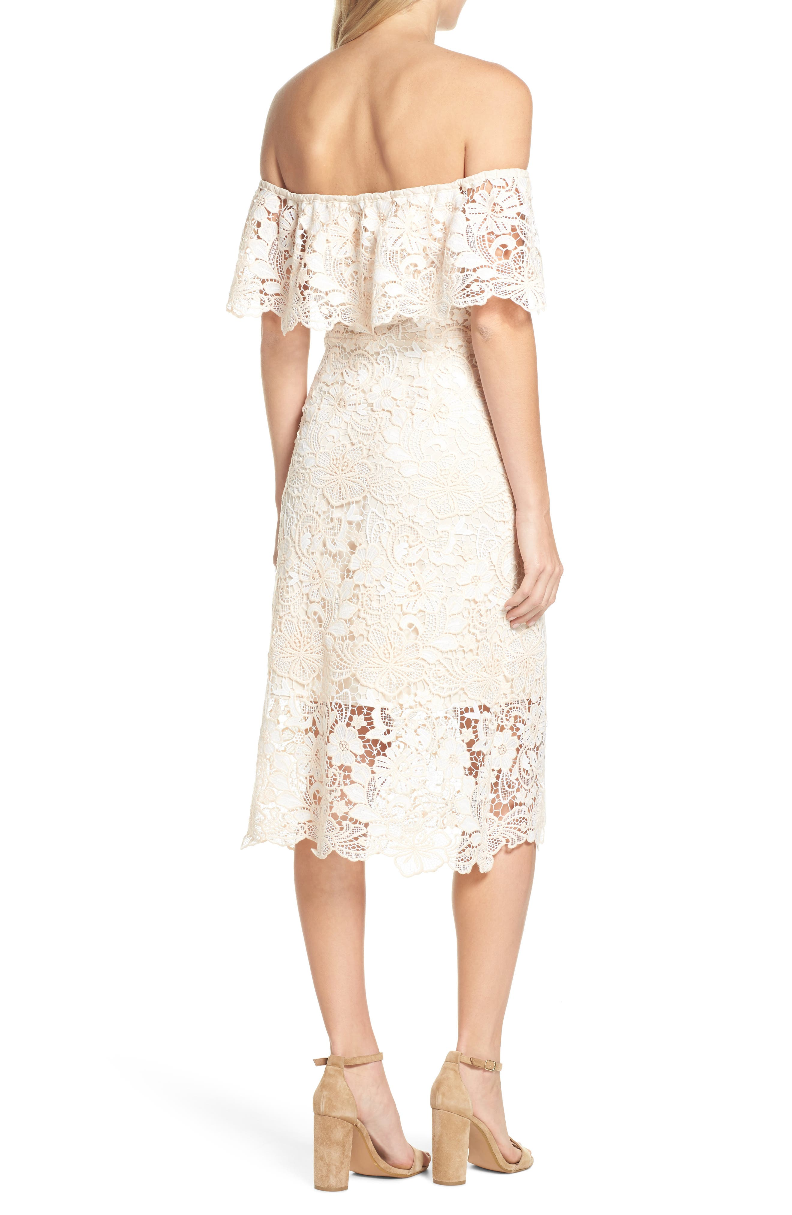 Off the Shoulder Lace Midi Dress,                             Alternate thumbnail 2, color,                             Ivory Floral