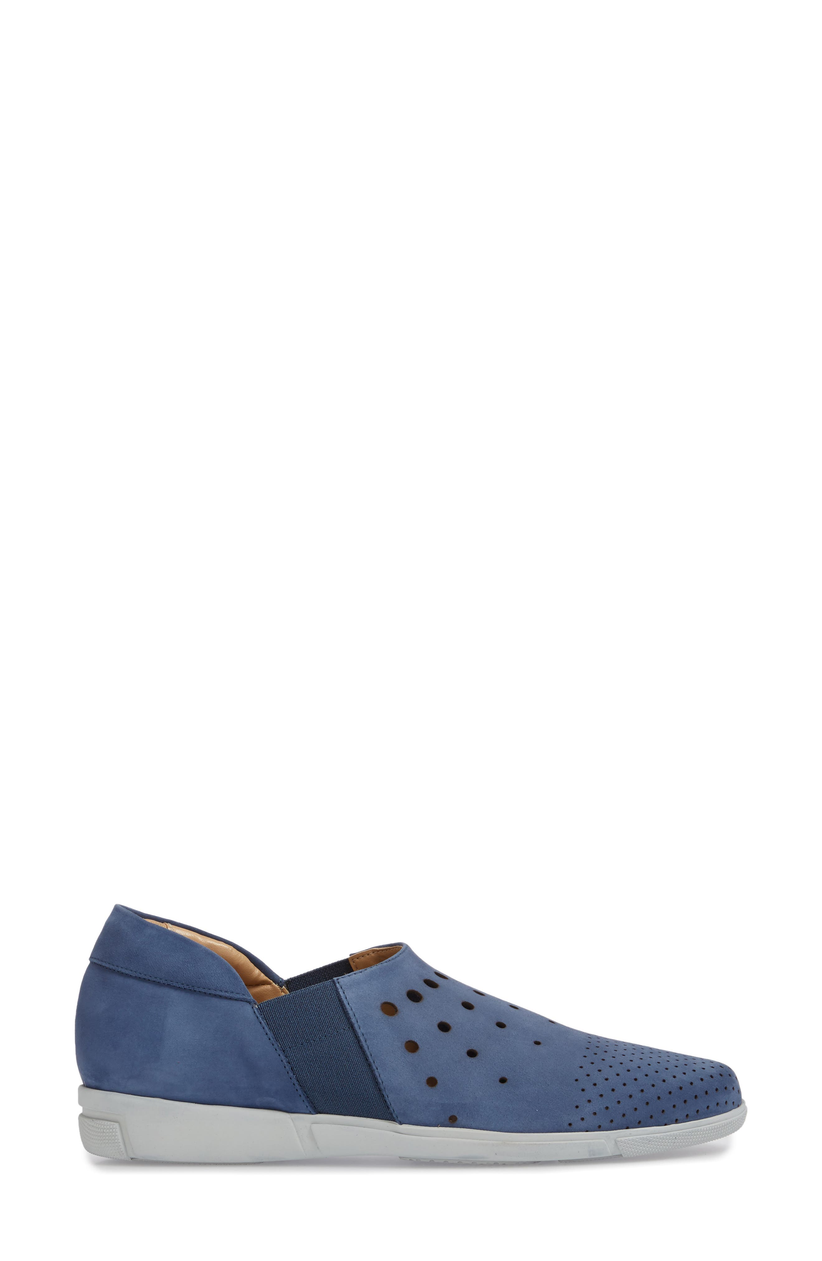 Ditty Perforated Slip-On,                             Alternate thumbnail 3, color,                             Jeans Soft Nubuck