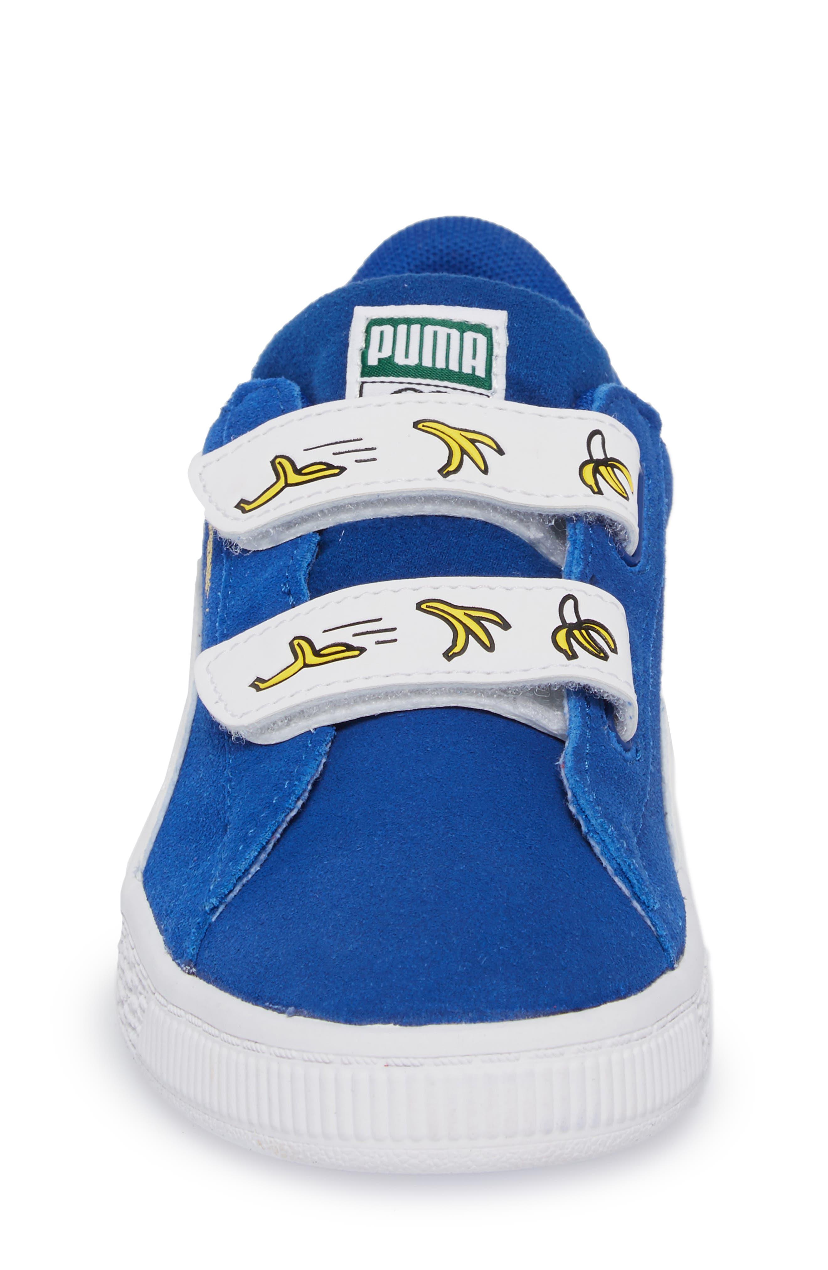 x Minions Suede V Sneaker,                             Alternate thumbnail 4, color,                             Olympian Blue/ Puma White