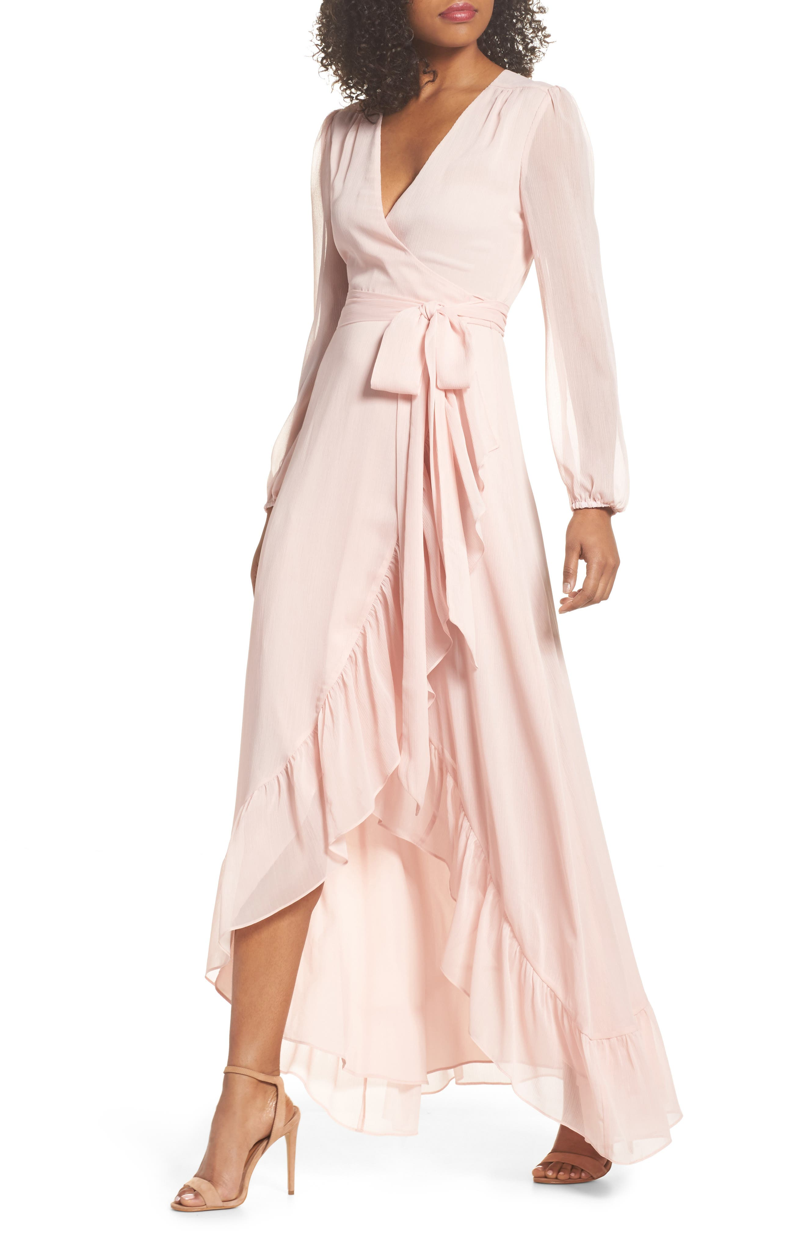 Meryl Long Sleeve Wrap Maxi Dress,                             Main thumbnail 1, color,                             Ballet Pink