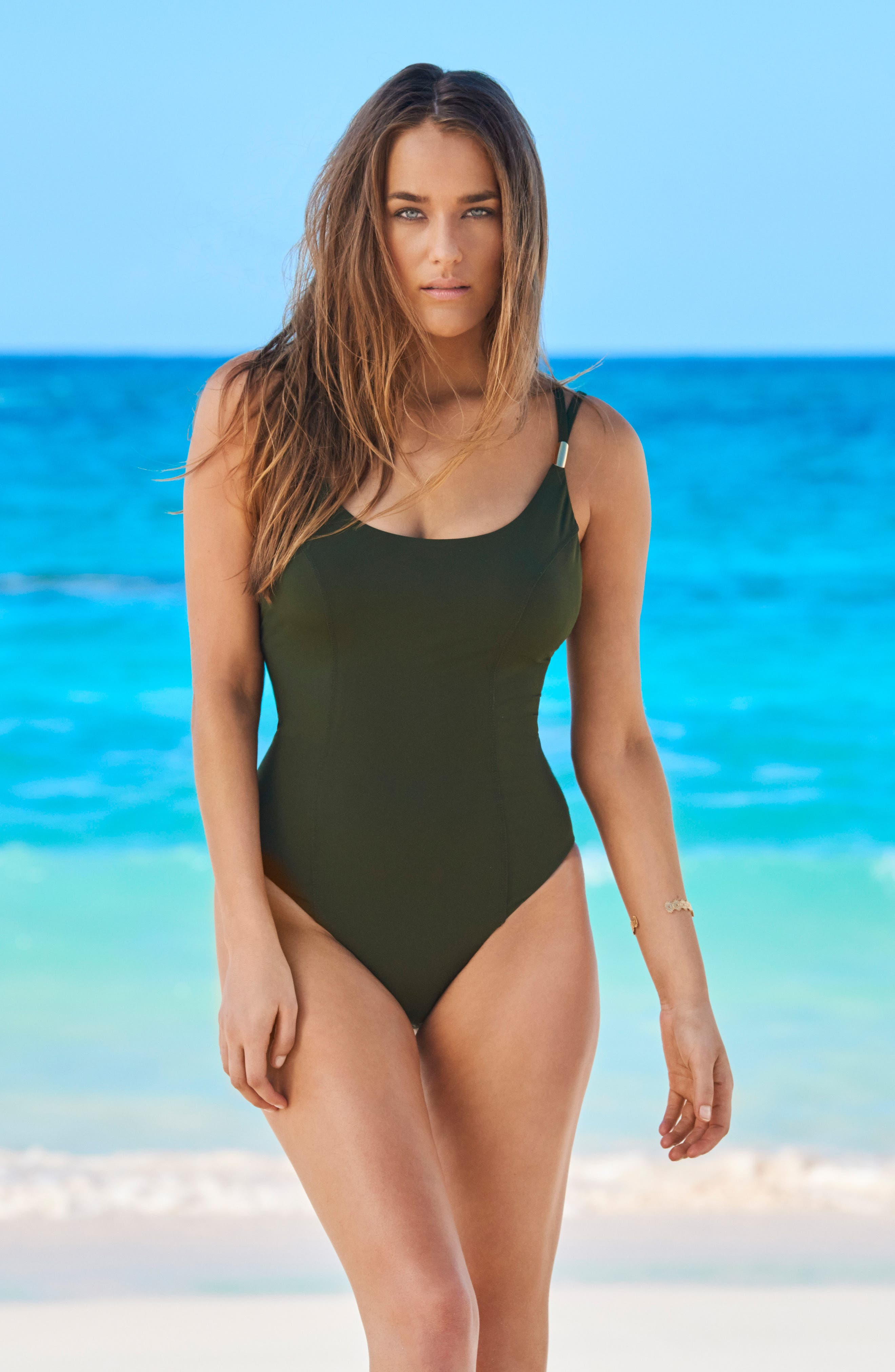 Solid Diana One-Piece Swimsuit,                             Alternate thumbnail 3, color,                             Olive
