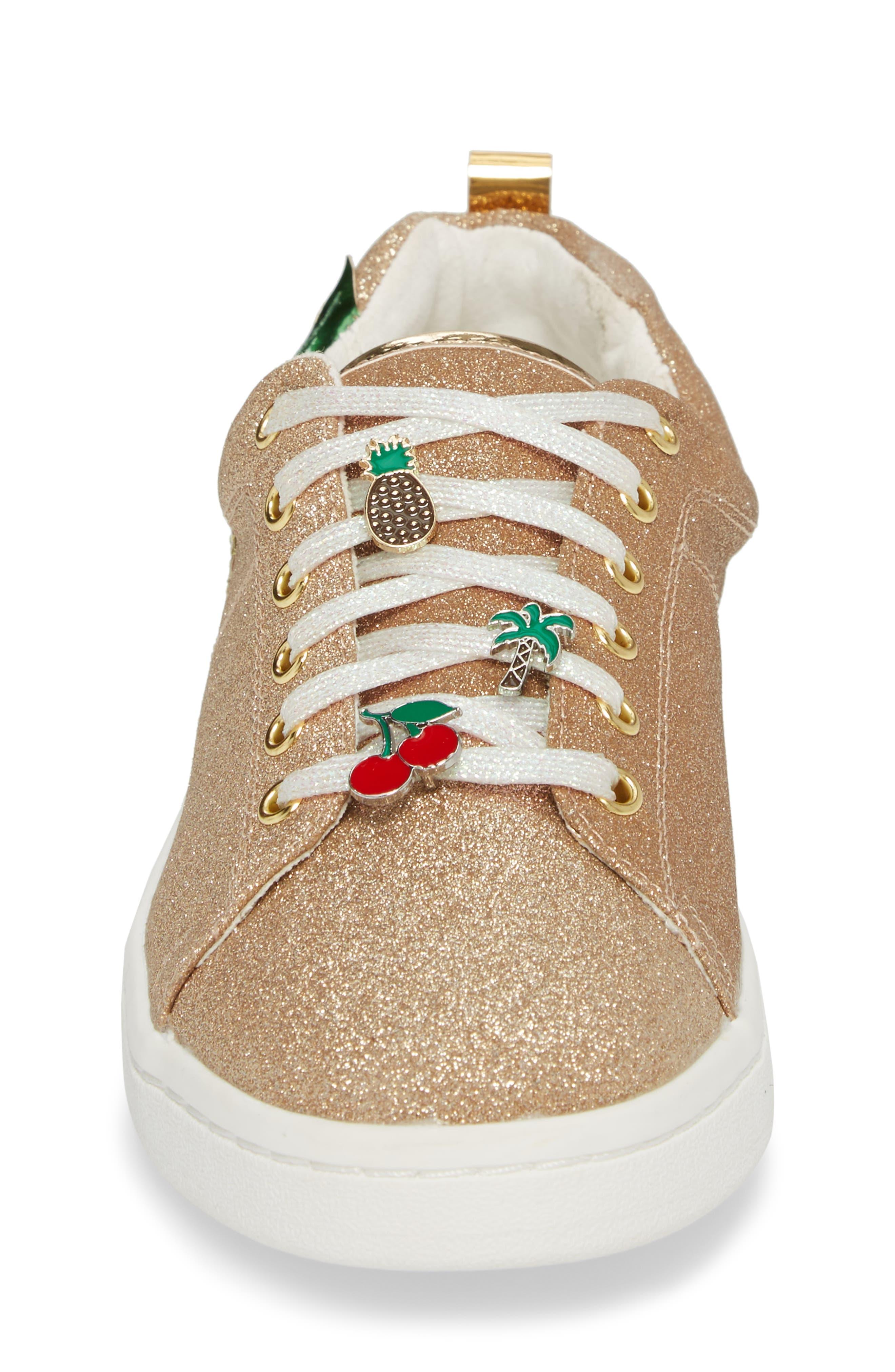 Blane Myth Glitter Sneaker,                             Alternate thumbnail 4, color,                             Golden Pineapple Faux Leather