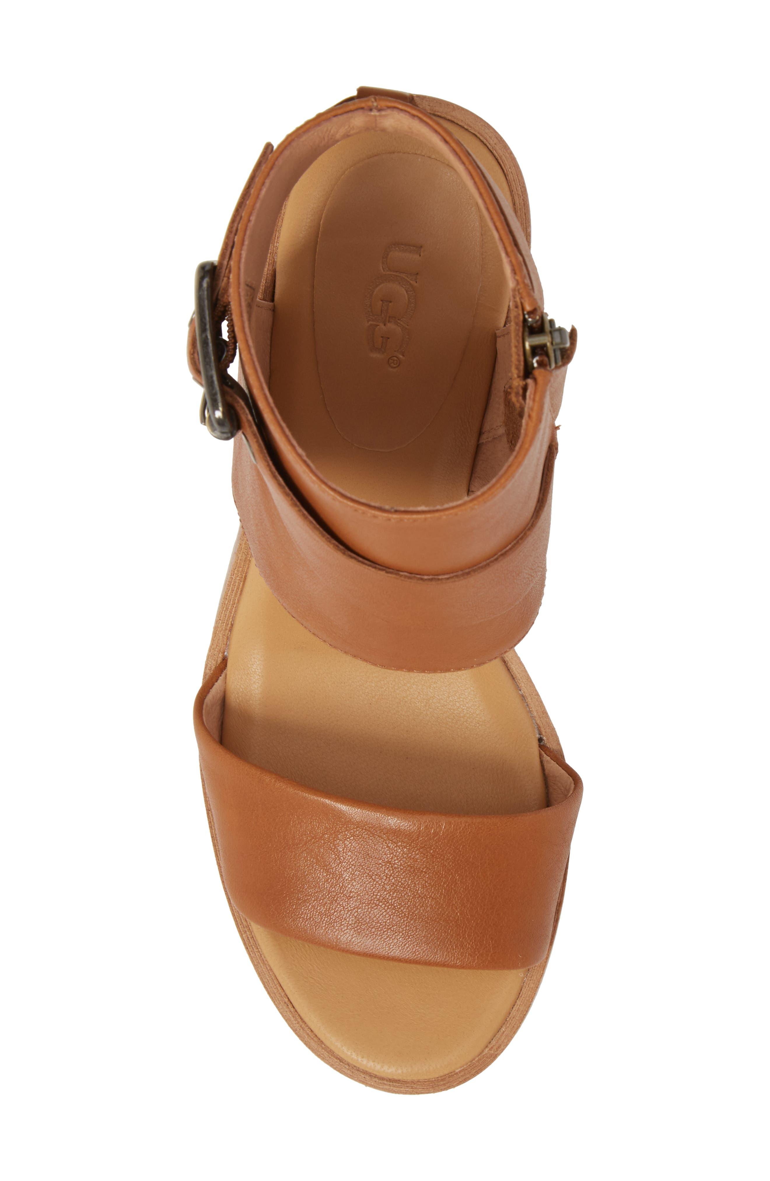 Claudette Cuff Sandal,                             Alternate thumbnail 5, color,                             Almond Leather