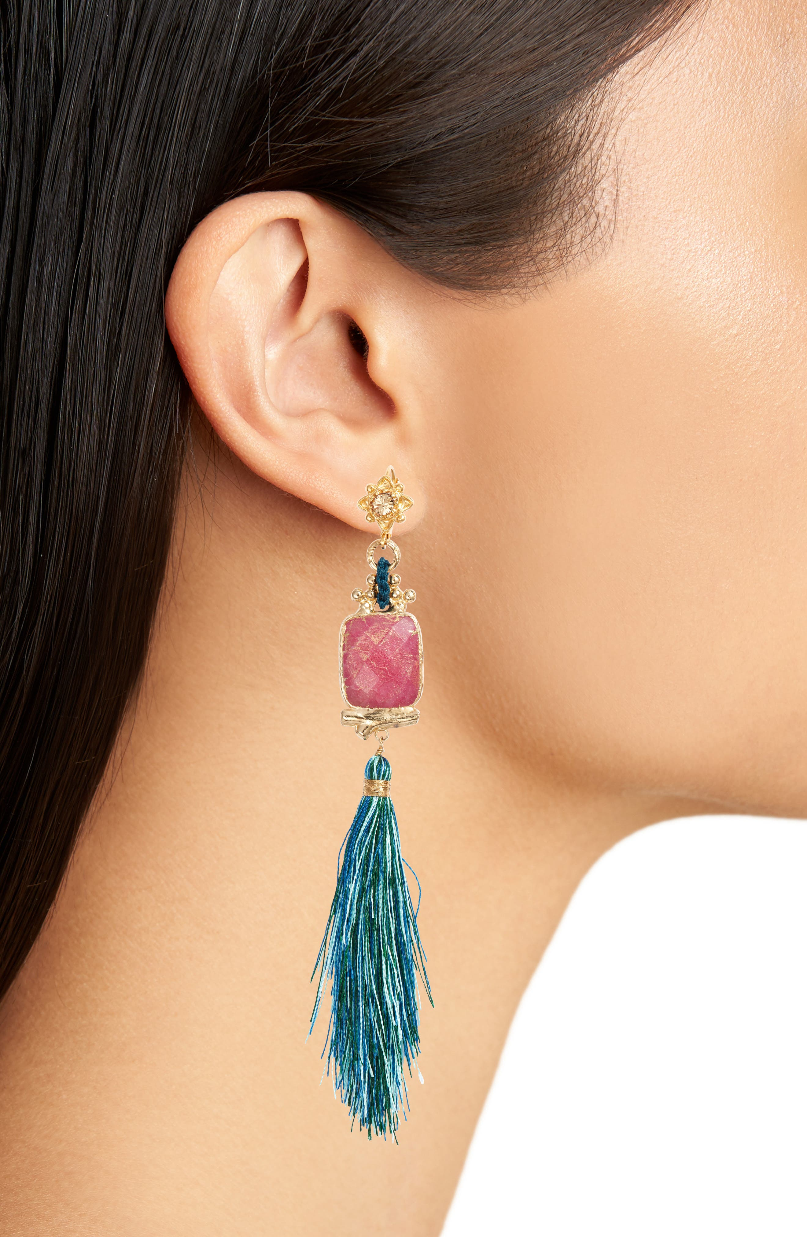 Poeme Drop Earrings,                             Alternate thumbnail 2, color,                             Pink/ Blue
