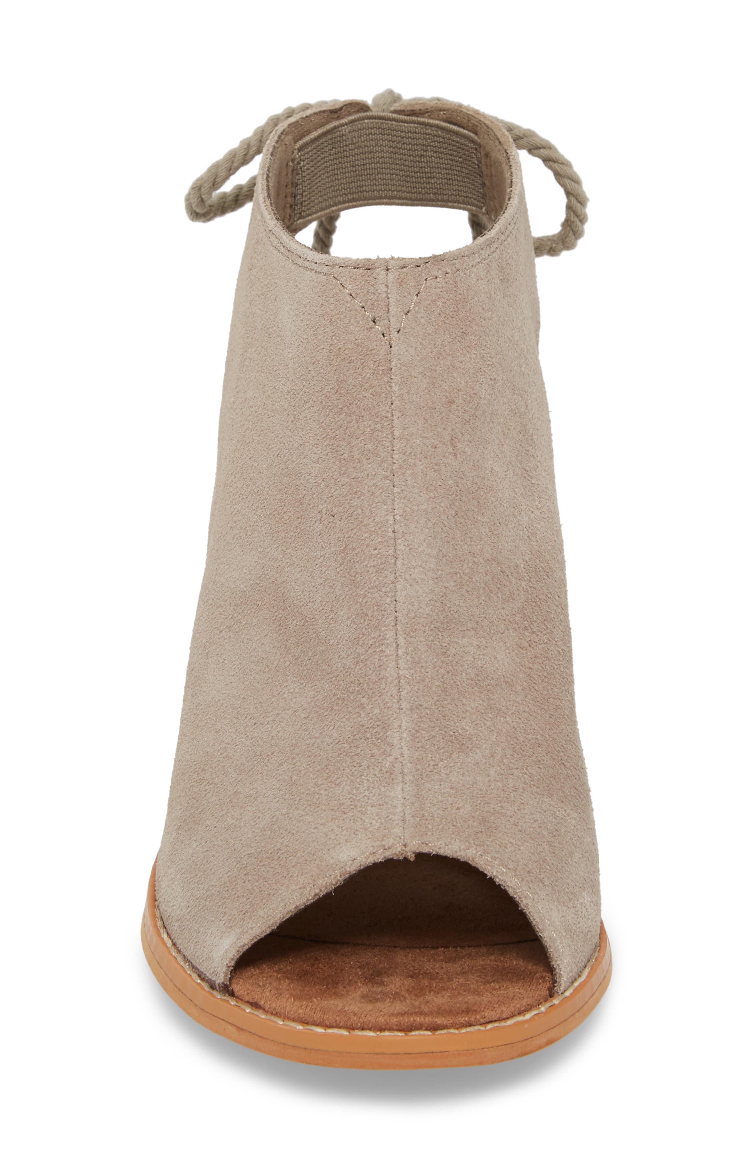 Elba Peep-Toe Bootie,                             Alternate thumbnail 4, color,                             Desert Taupe Suede