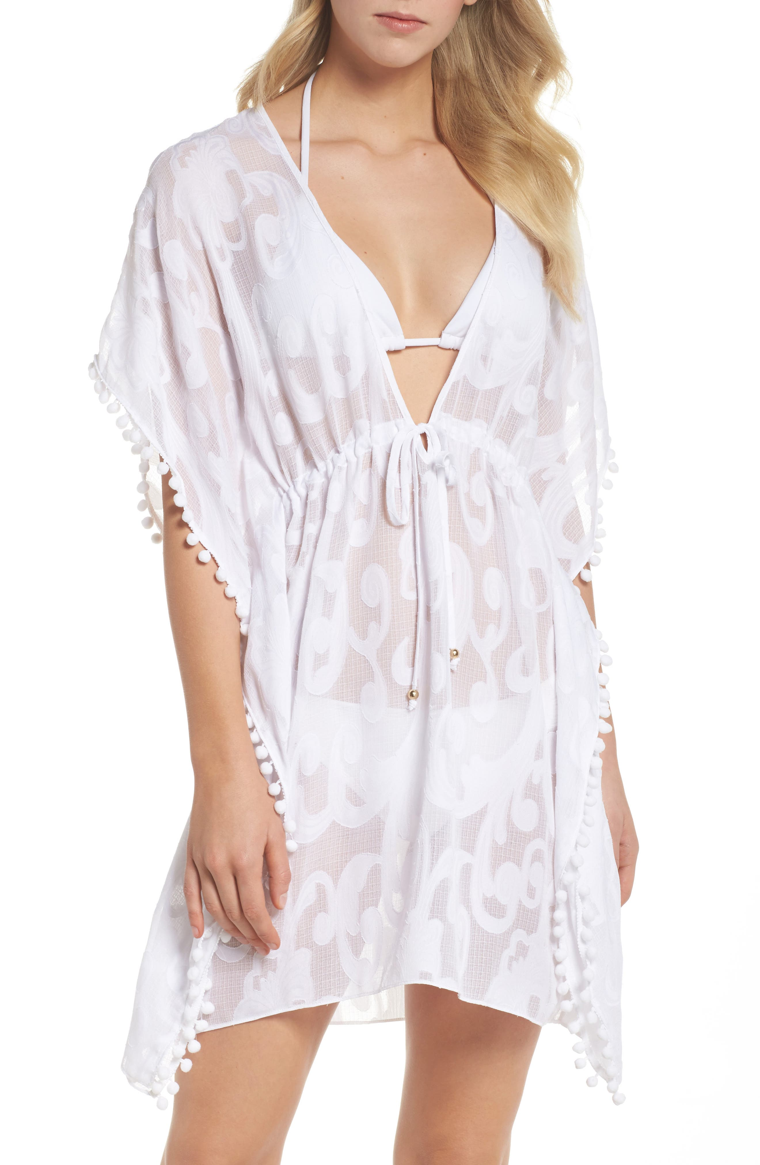 Gardenia Cover-Up,                         Main,                         color, Resort White Poly Crepe Swirl