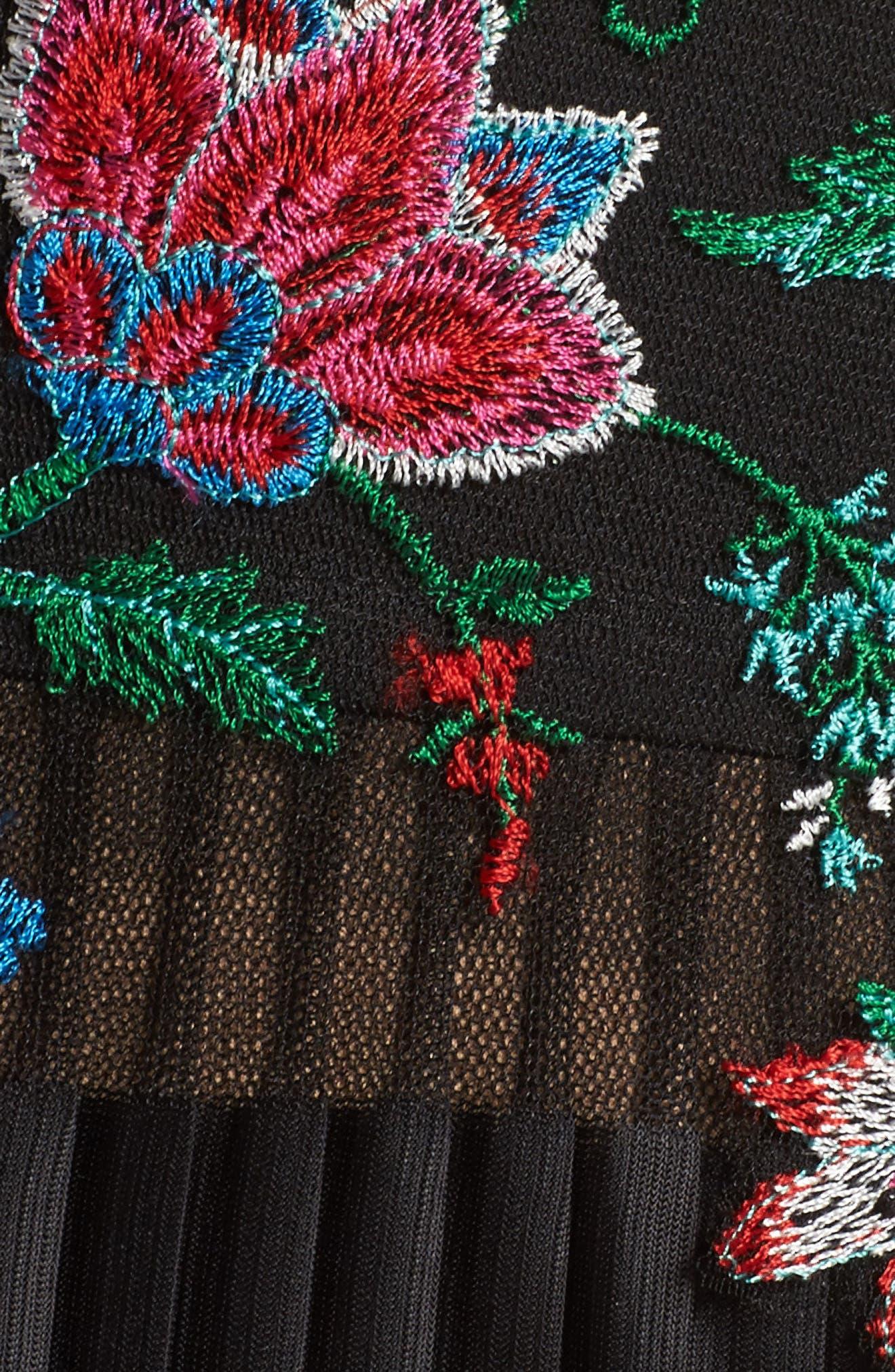Embroidered Pleat Tulle Midi Dress,                             Alternate thumbnail 5, color,                             Black Dahlia