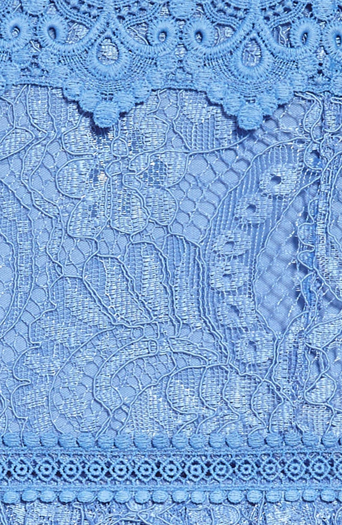 Lace Cold Shoulder Dress,                             Alternate thumbnail 3, color,                             Cornflower