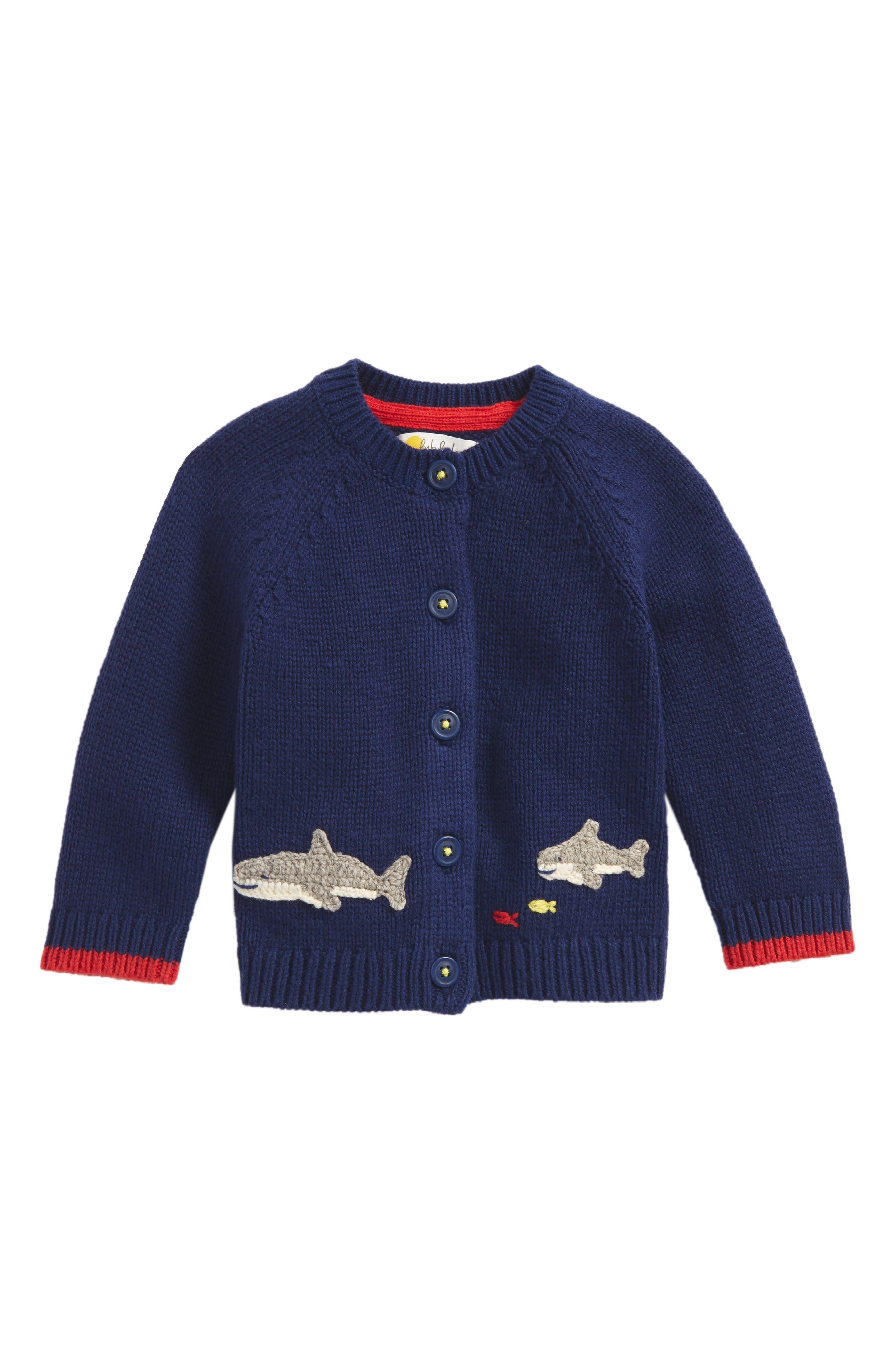 Sea Creature Sweater Cardigan,                             Main thumbnail 1, color,                             Beacon Blue Sharks