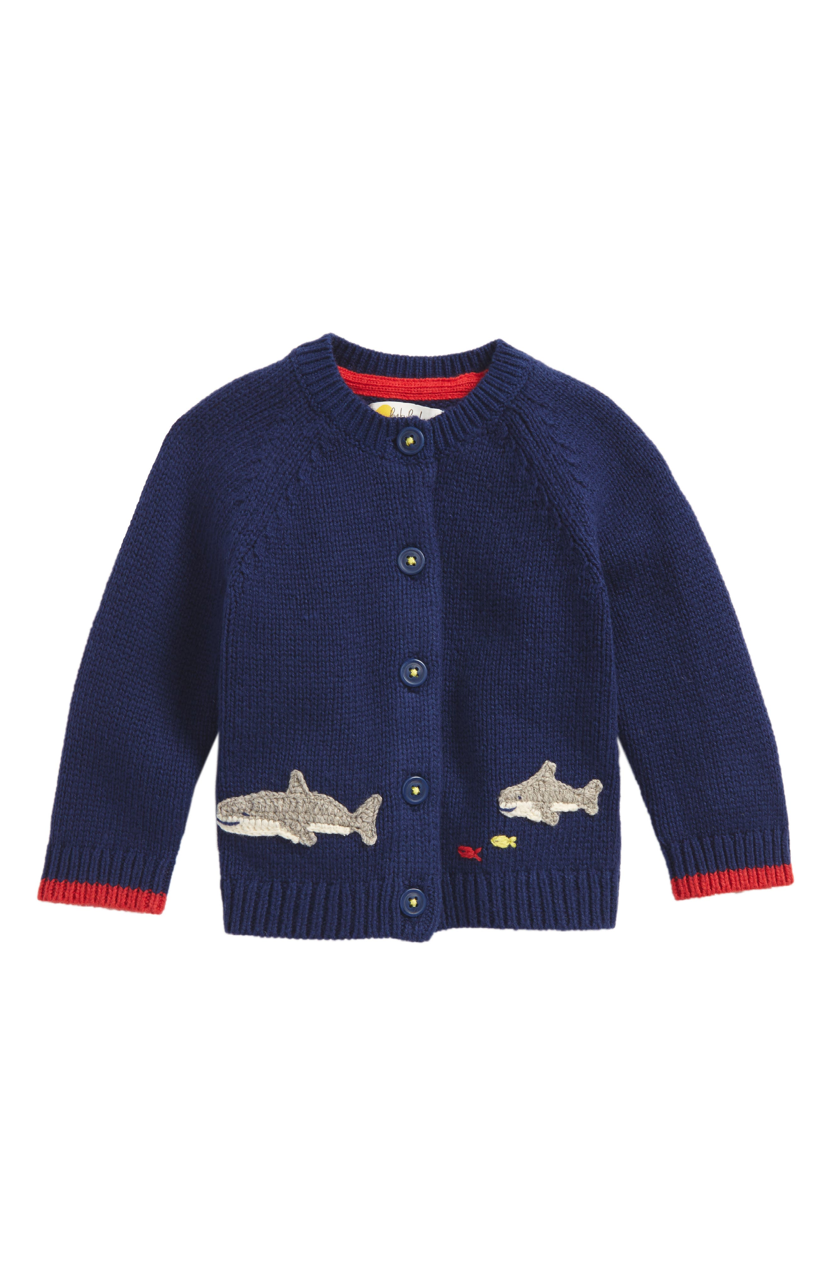 Sea Creature Sweater Cardigan,                         Main,                         color, Beacon Blue Sharks
