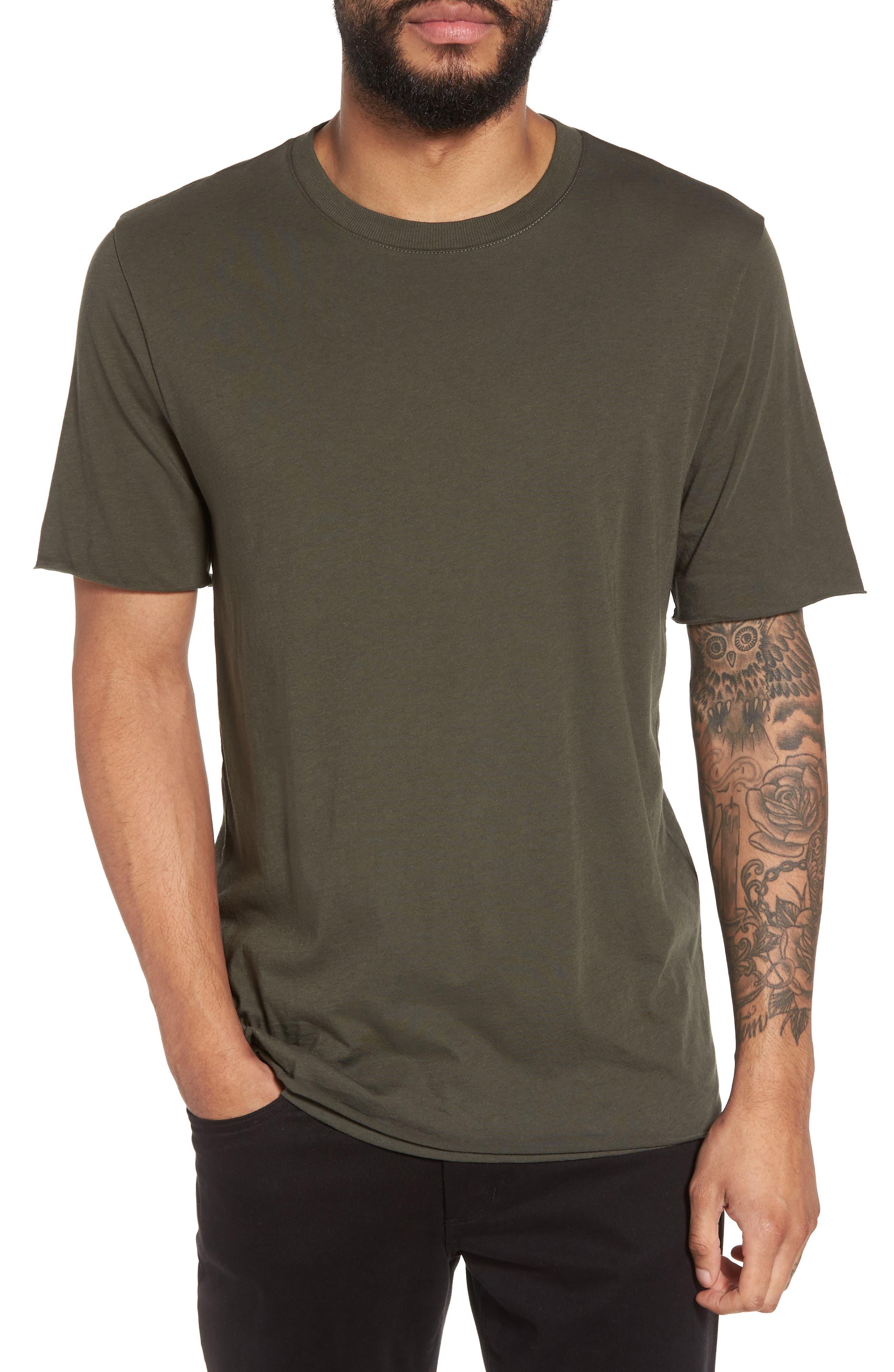 Double Layer Slim Fit T-Shirt,                         Main,                         color, Pine Needle