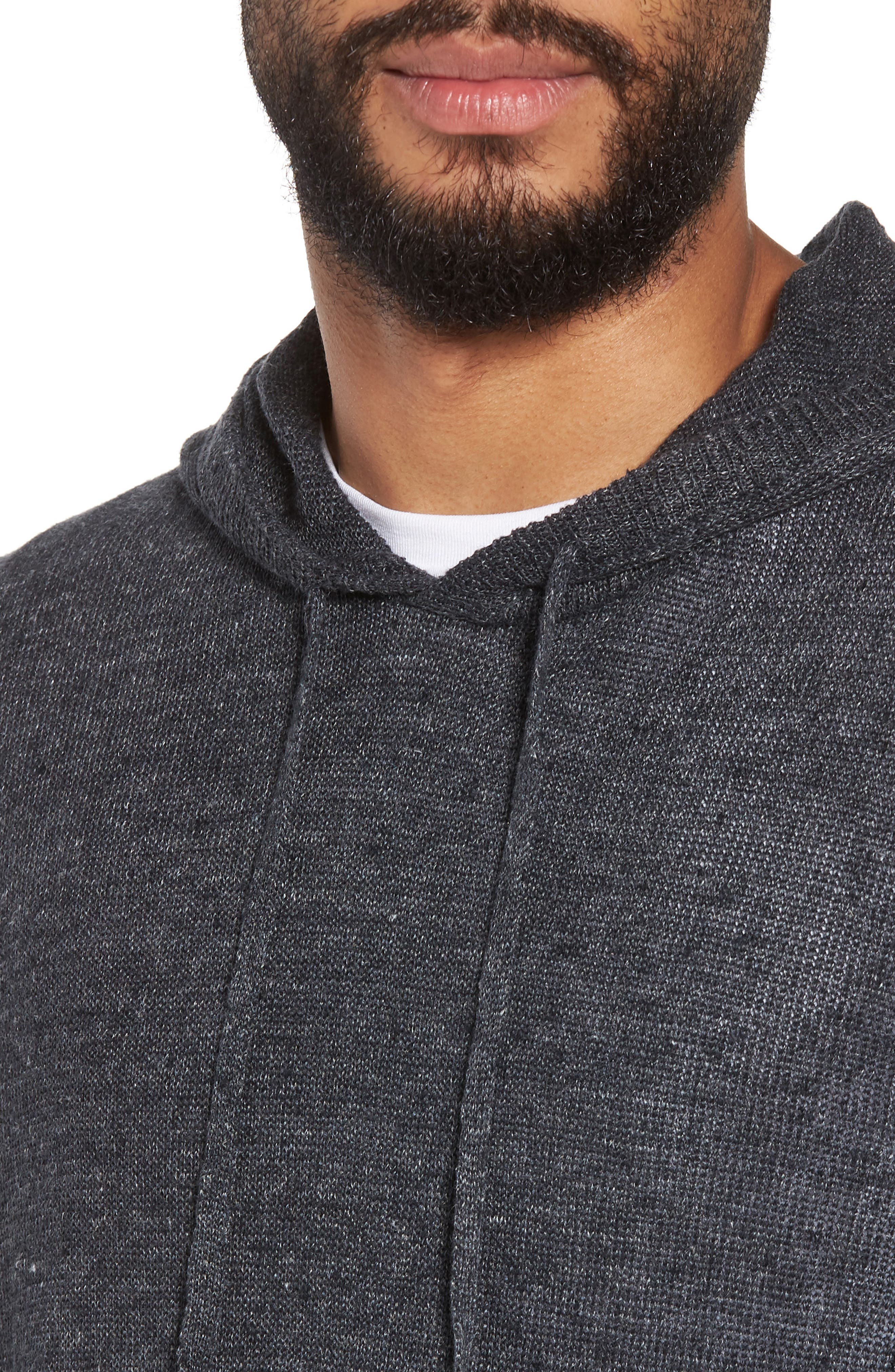 Slim Fit Linen Pullover Hoodie,                             Alternate thumbnail 4, color,                             Black