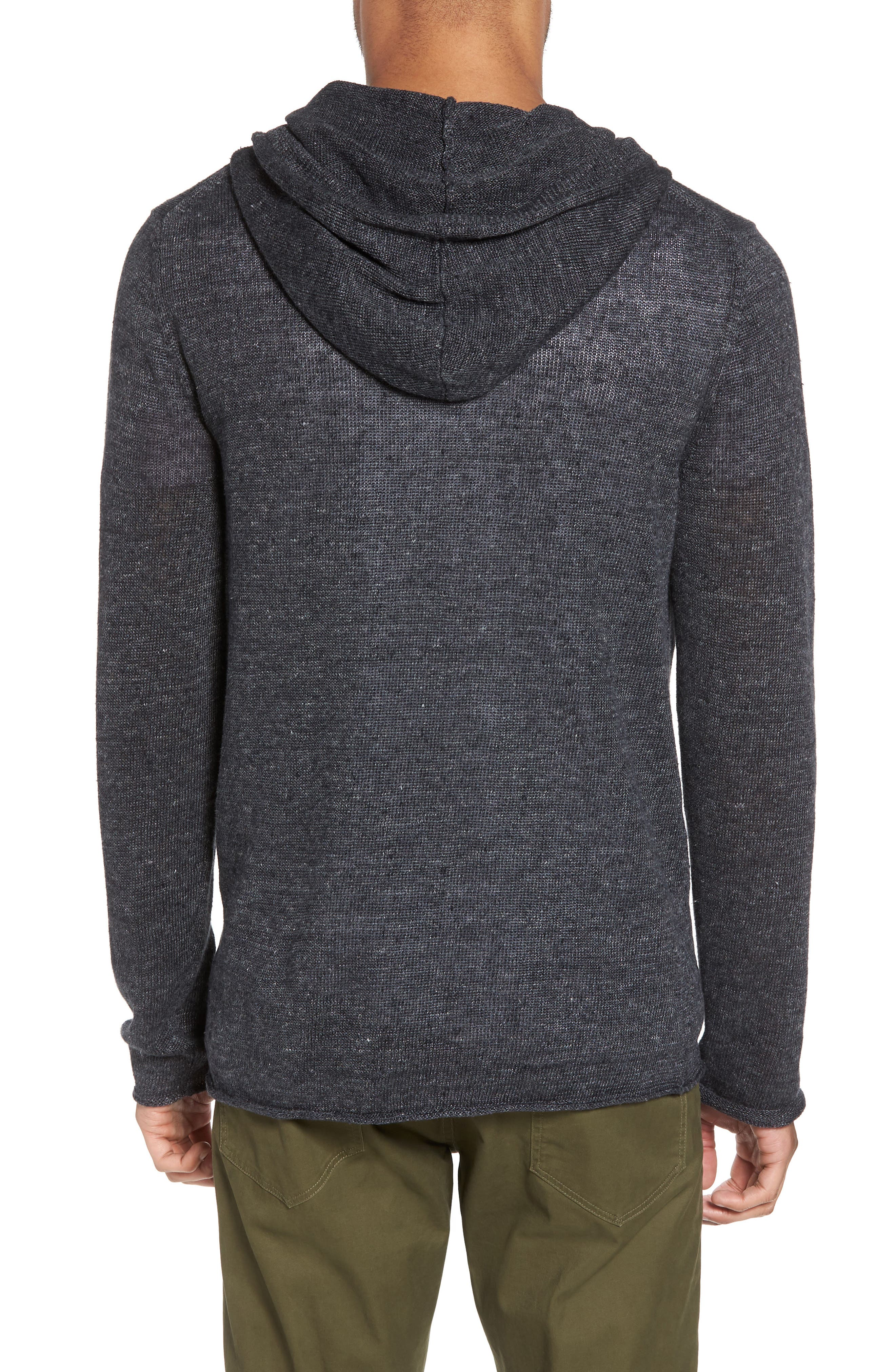 Slim Fit Linen Pullover Hoodie,                             Alternate thumbnail 2, color,                             Black