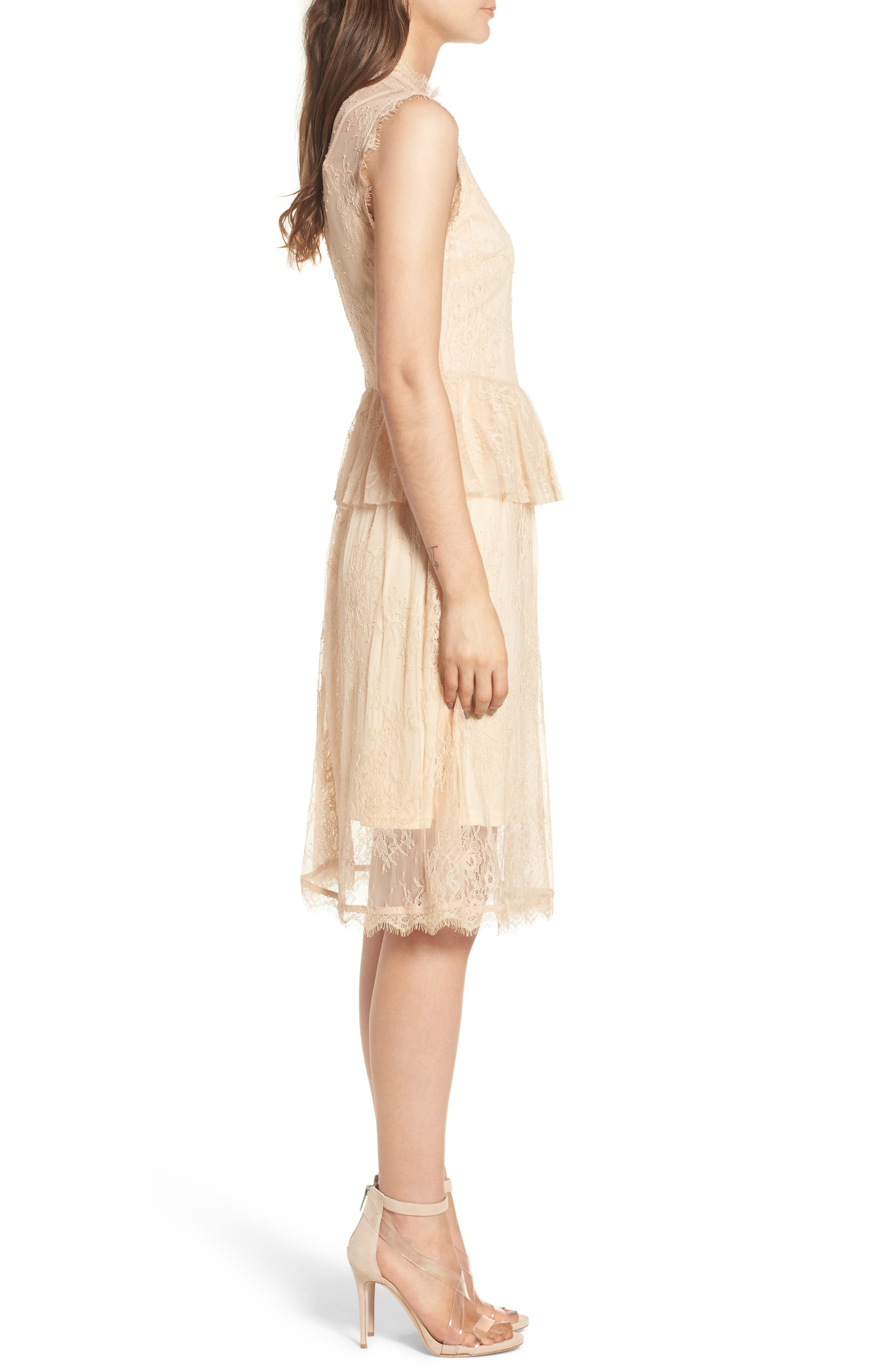 Lace Fit & Flare Dress,                             Alternate thumbnail 3, color,                             Nude