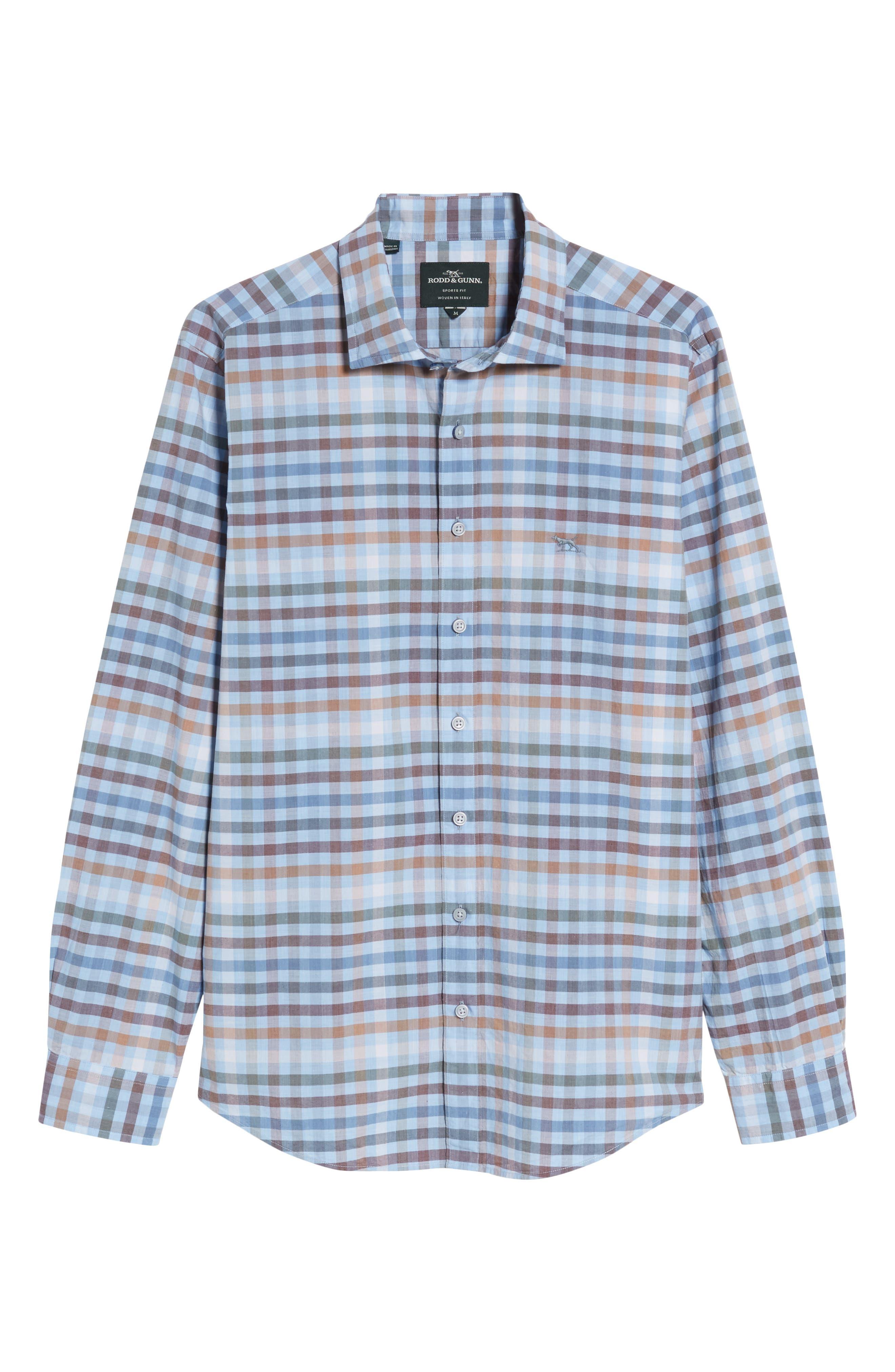 Rothesay Regular Fit Check Sport Shirt,                             Alternate thumbnail 6, color,                             Stonewash