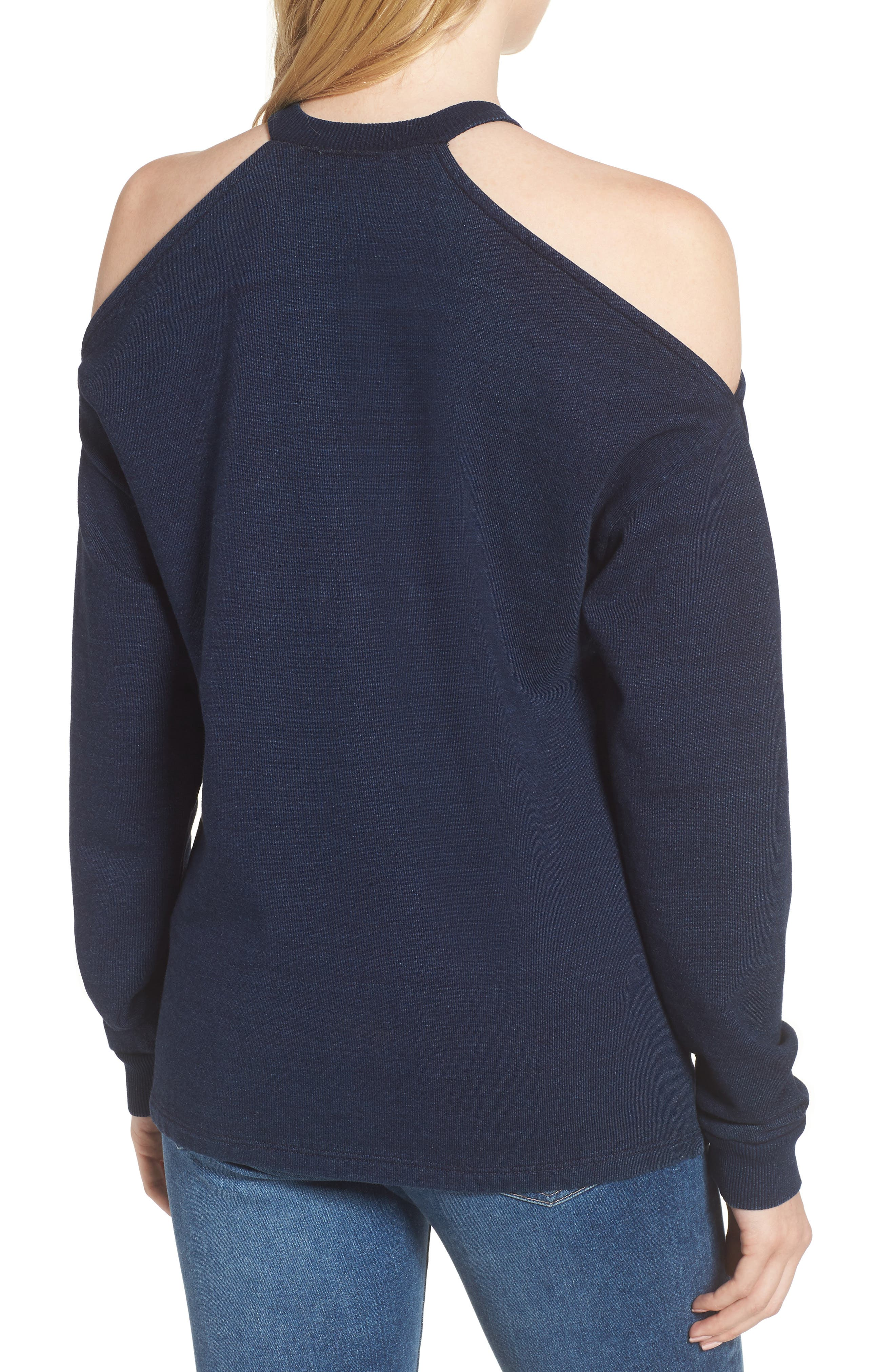 Gizi Cold Shoulder Sweatshirt,                             Alternate thumbnail 2, color,                             Blue River