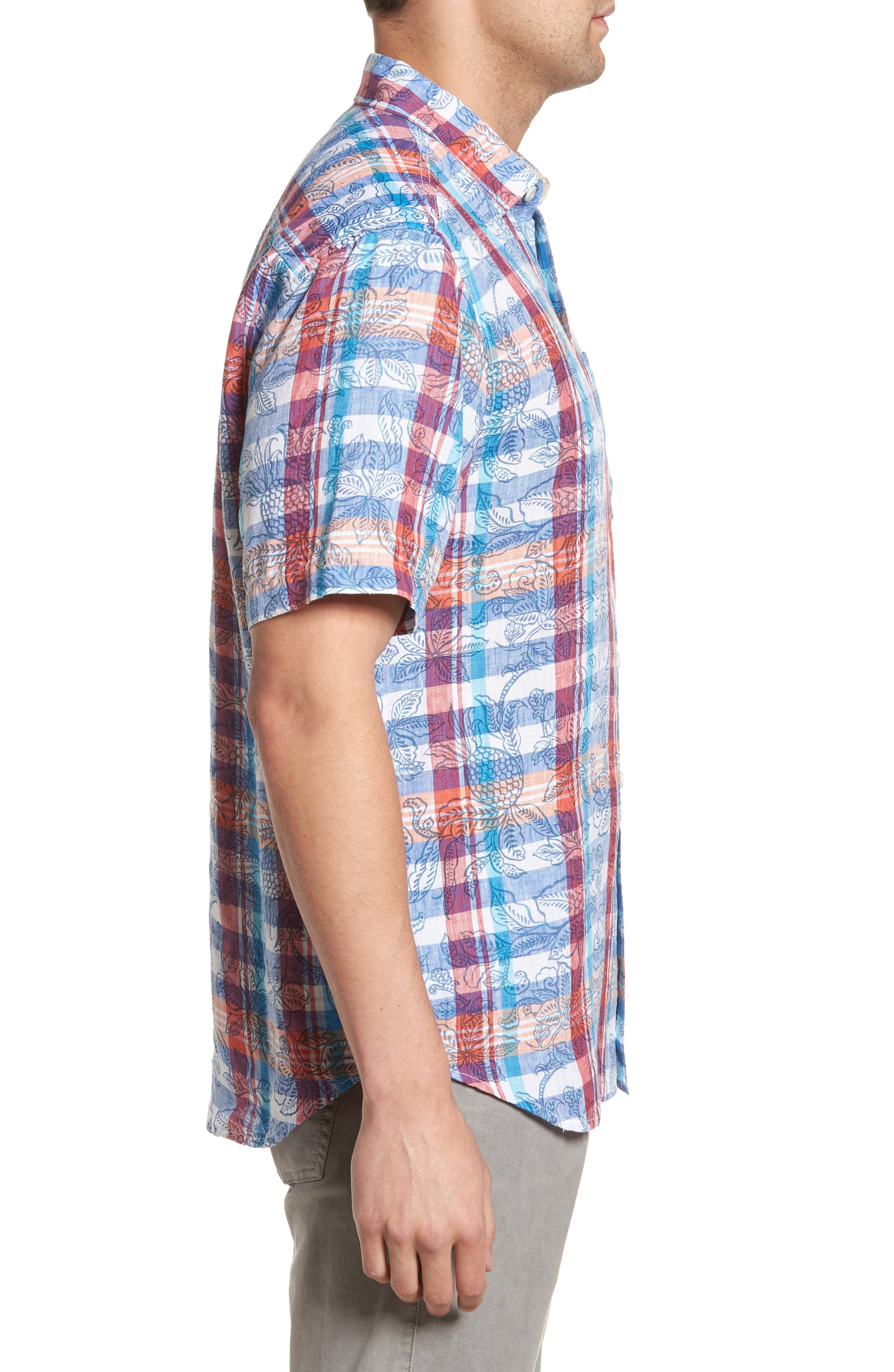 Tropico Madras Linen Sport Shirt,                             Alternate thumbnail 3, color,                             Cobalt Sea