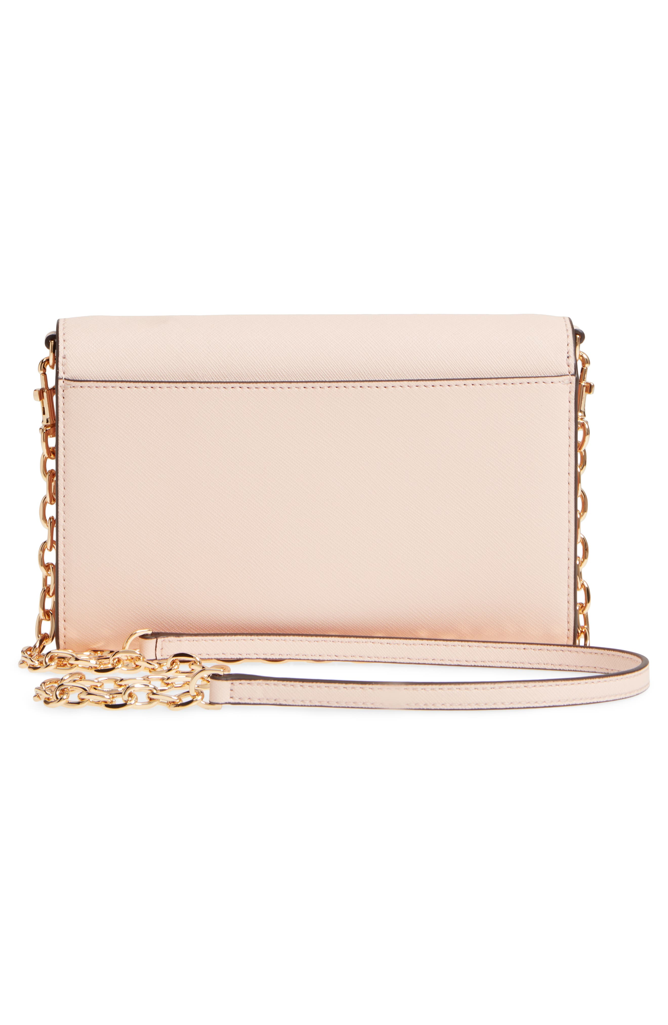 Robinson Leather Wallet on a Chain,                             Alternate thumbnail 4, color,                             Pale Apricot / Royal Navy