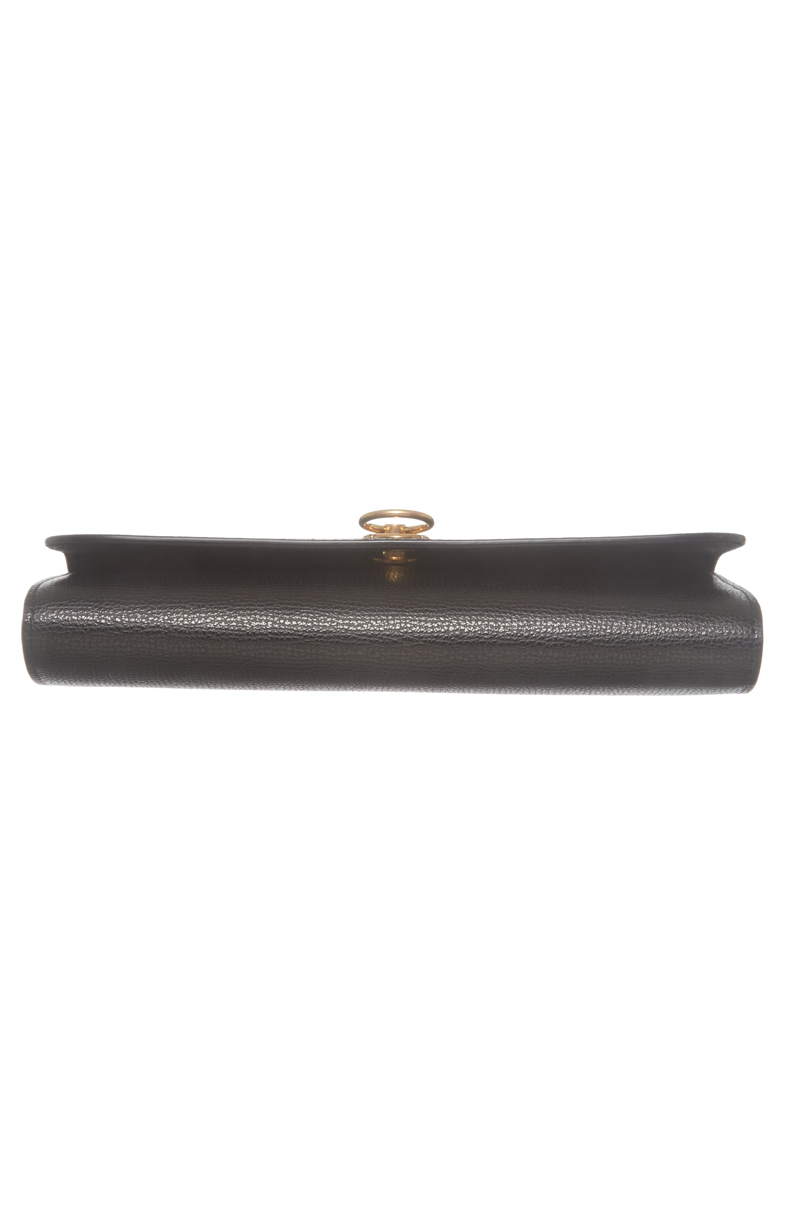 Amberley Calfskin Leather Clutch,                             Alternate thumbnail 6, color,                             Black