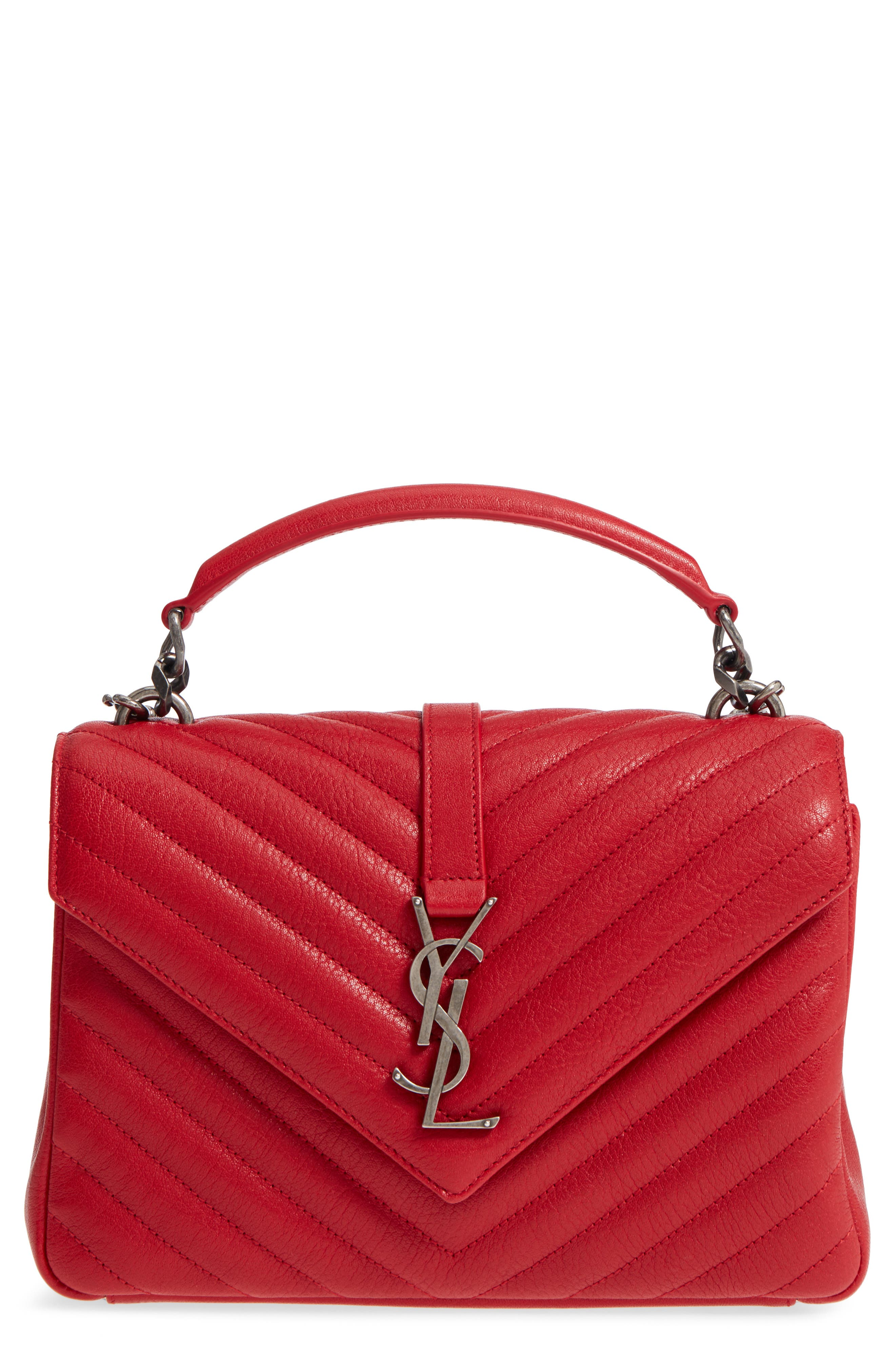 Saint Laurent Medium College Quilted Leather Shoulder Bag
