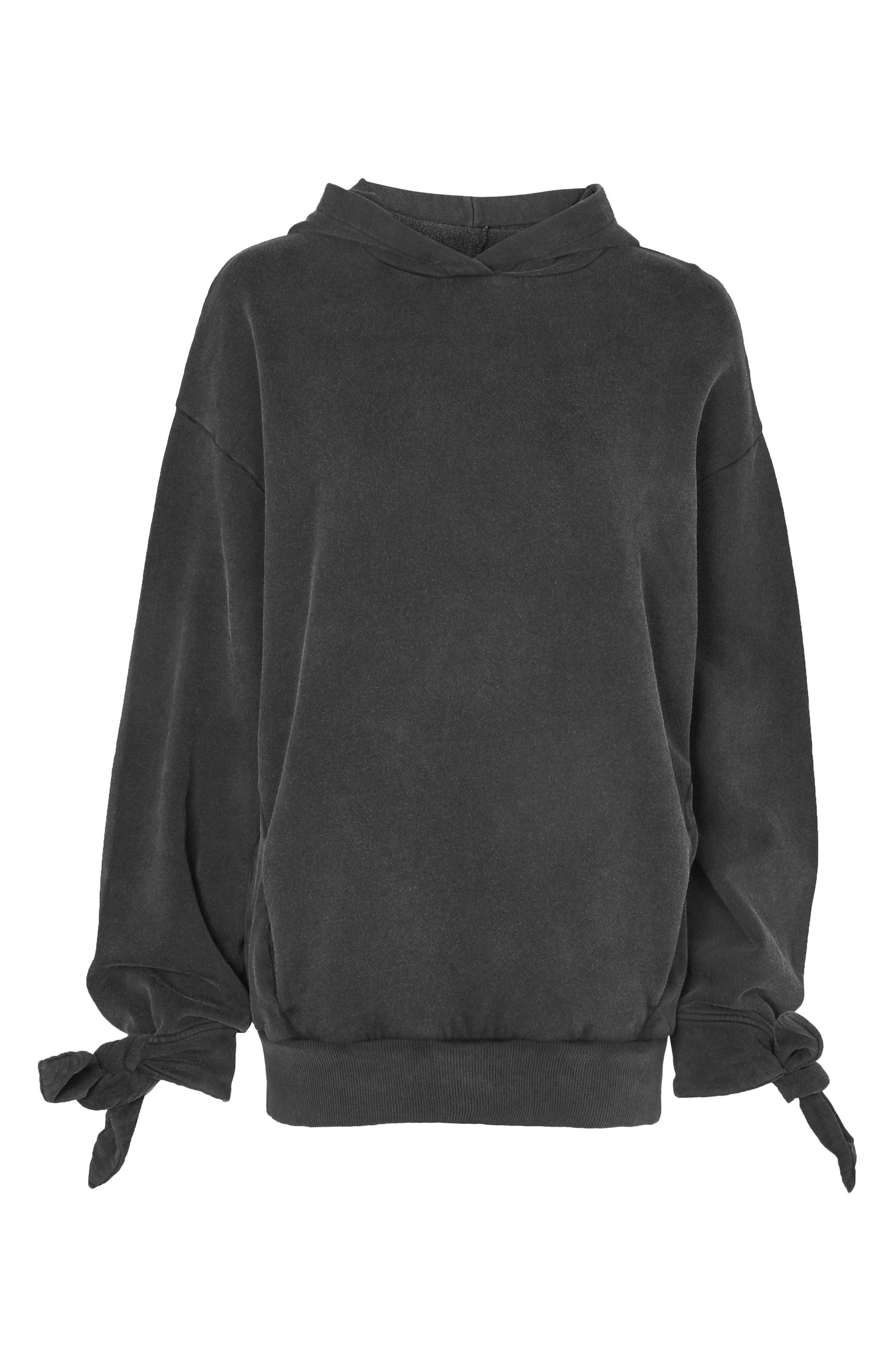 Alternate Image 1 Selected - Topshop Boutique Tie Sleeve Hoodie