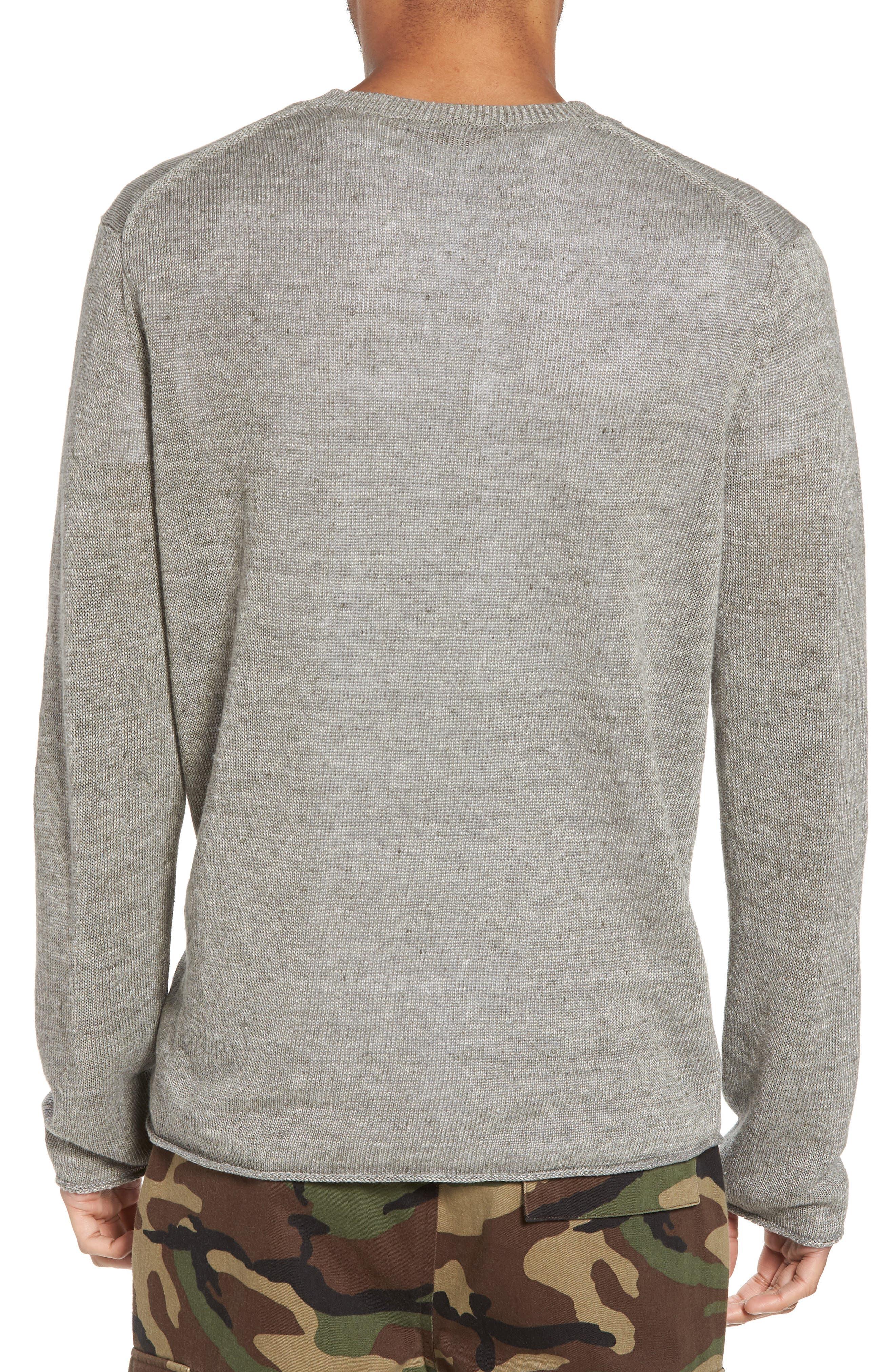 Slim Fit Linen Crewneck Sweater,                             Alternate thumbnail 2, color,                             Silver