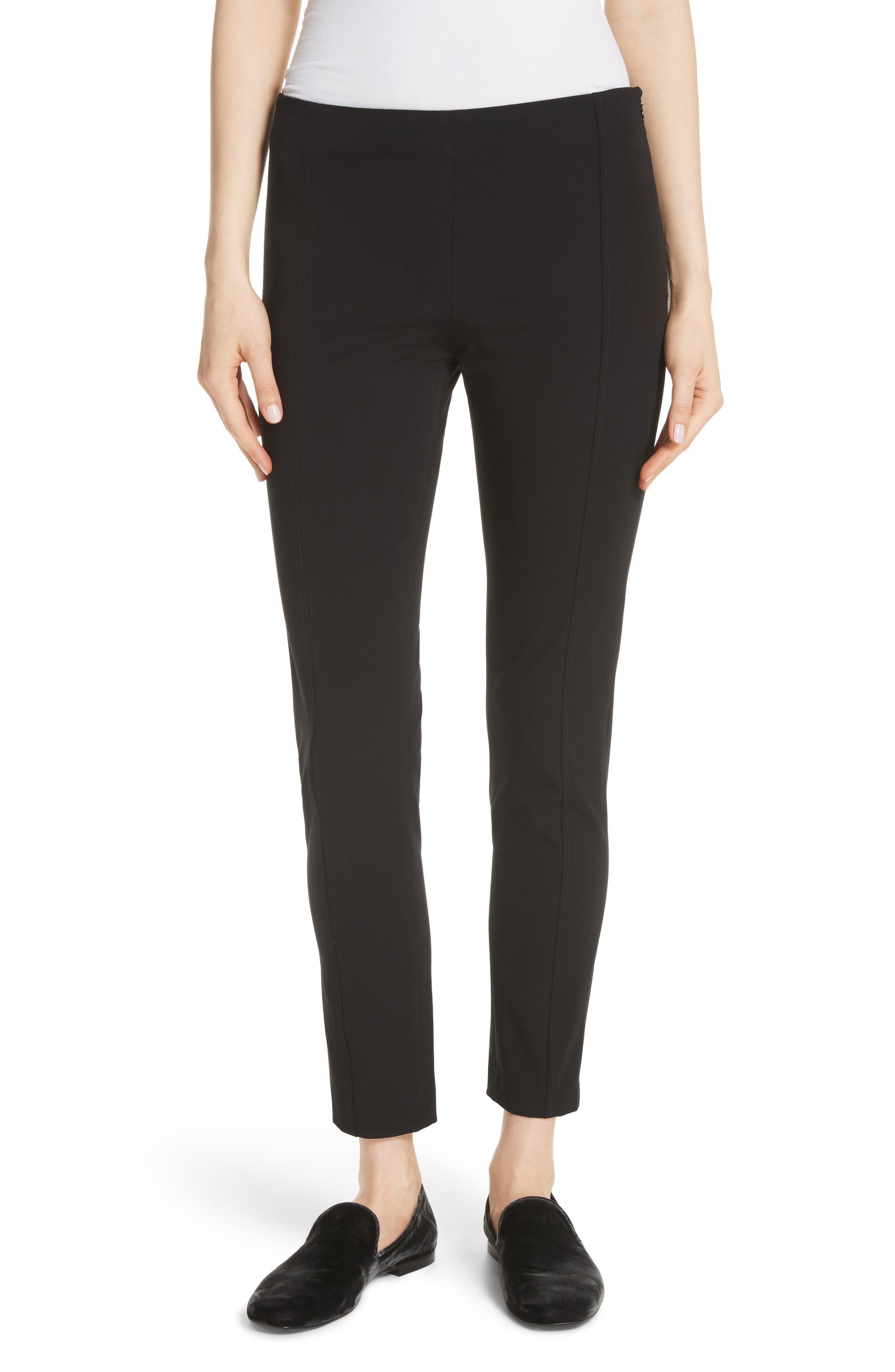 Lenny Slim Stretch Cotton Pants,                             Main thumbnail 1, color,                             Black