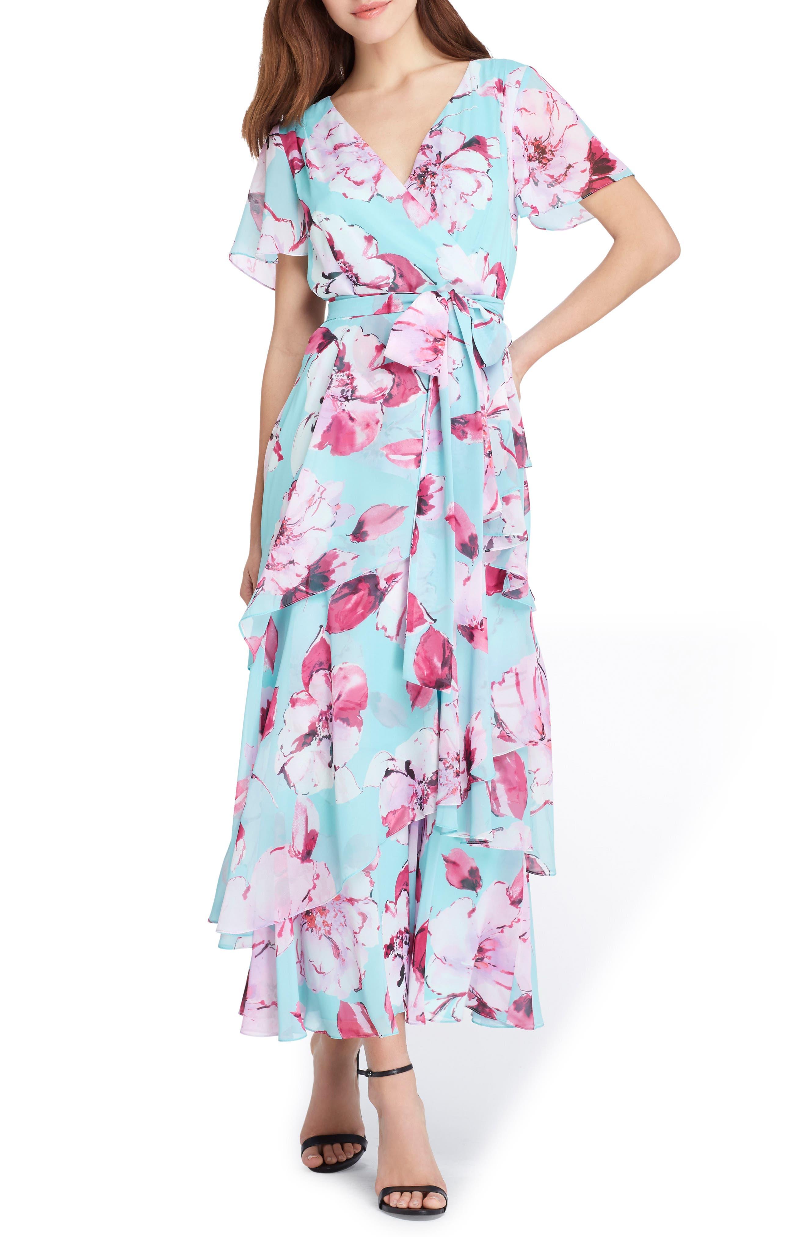 Tahari Floral Tiered Maxi Dress