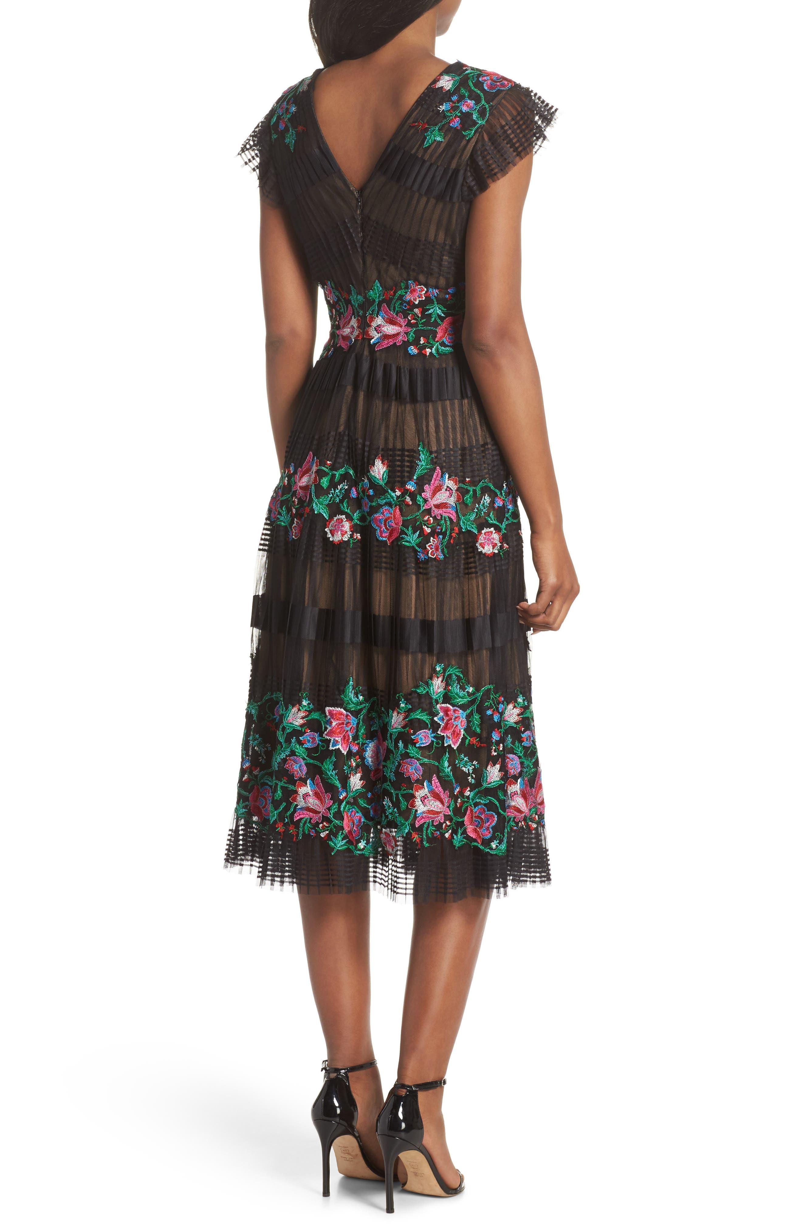Embroidered Pleat Tulle Midi Dress,                             Alternate thumbnail 2, color,                             Black Dahlia