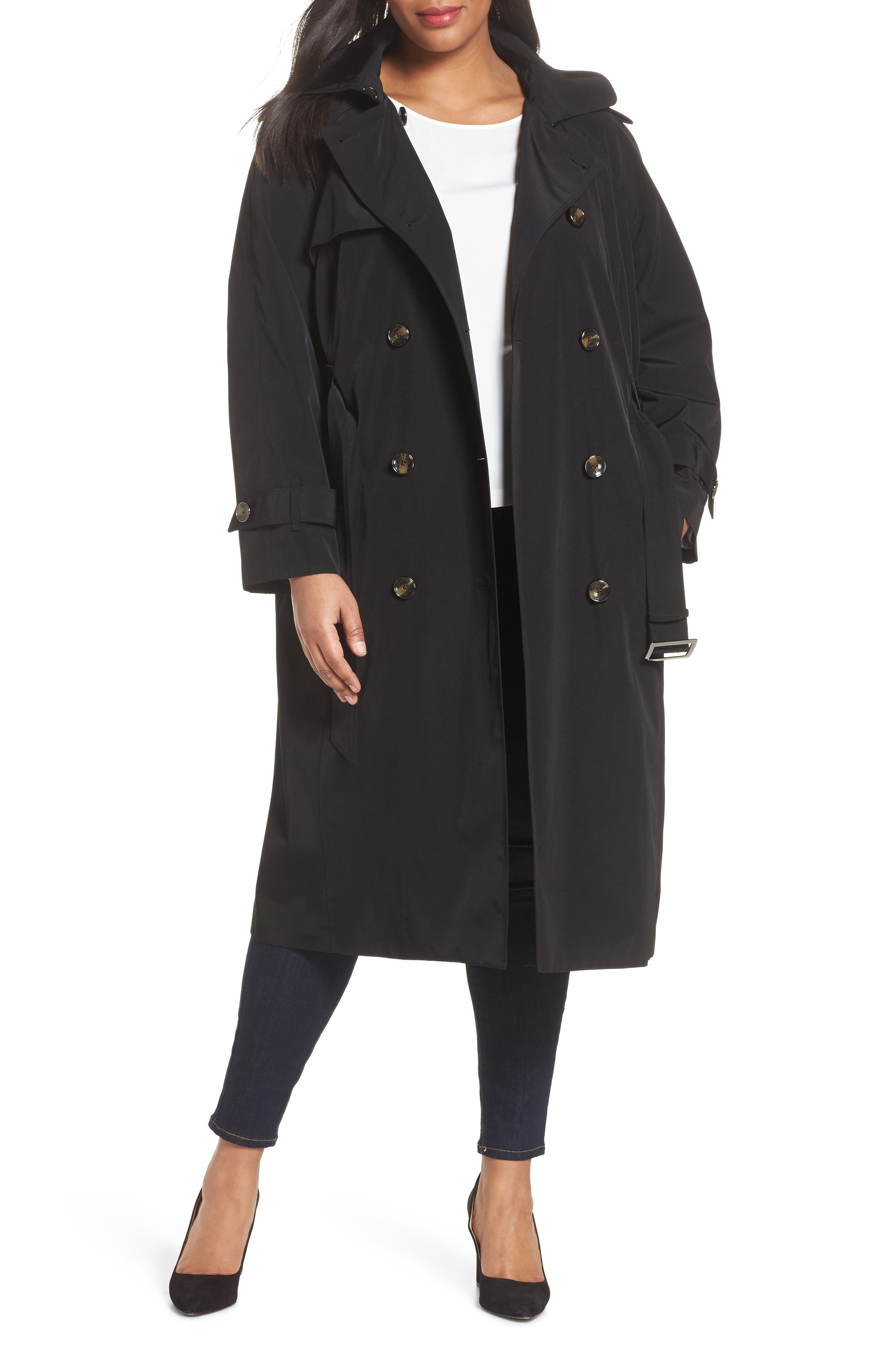 Water Resistant Hooded Trench Coat,                             Main thumbnail 1, color,                             Black