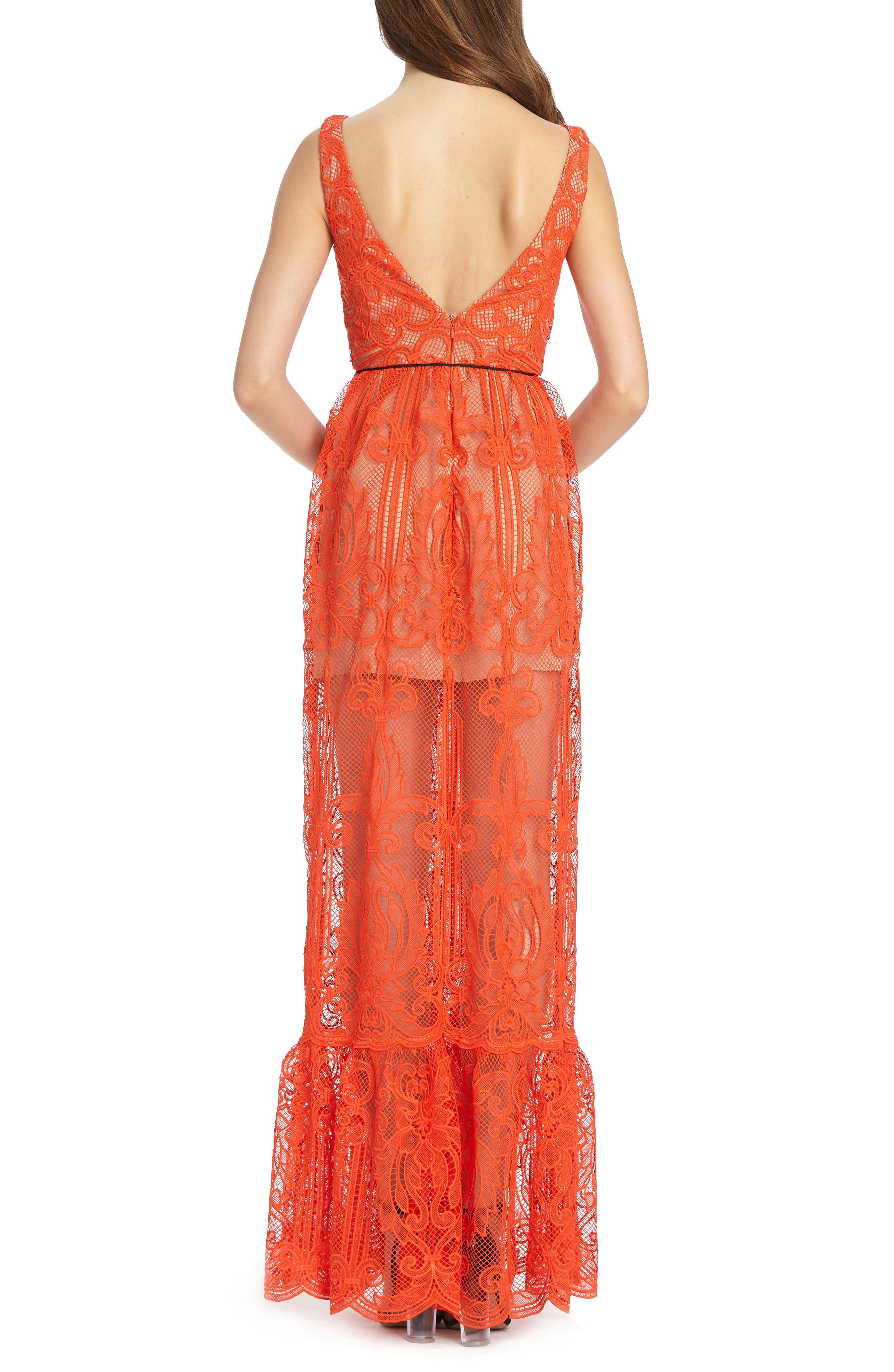 ML Monique Lhullier Lace Gown,                             Alternate thumbnail 2, color,                             Persimmon