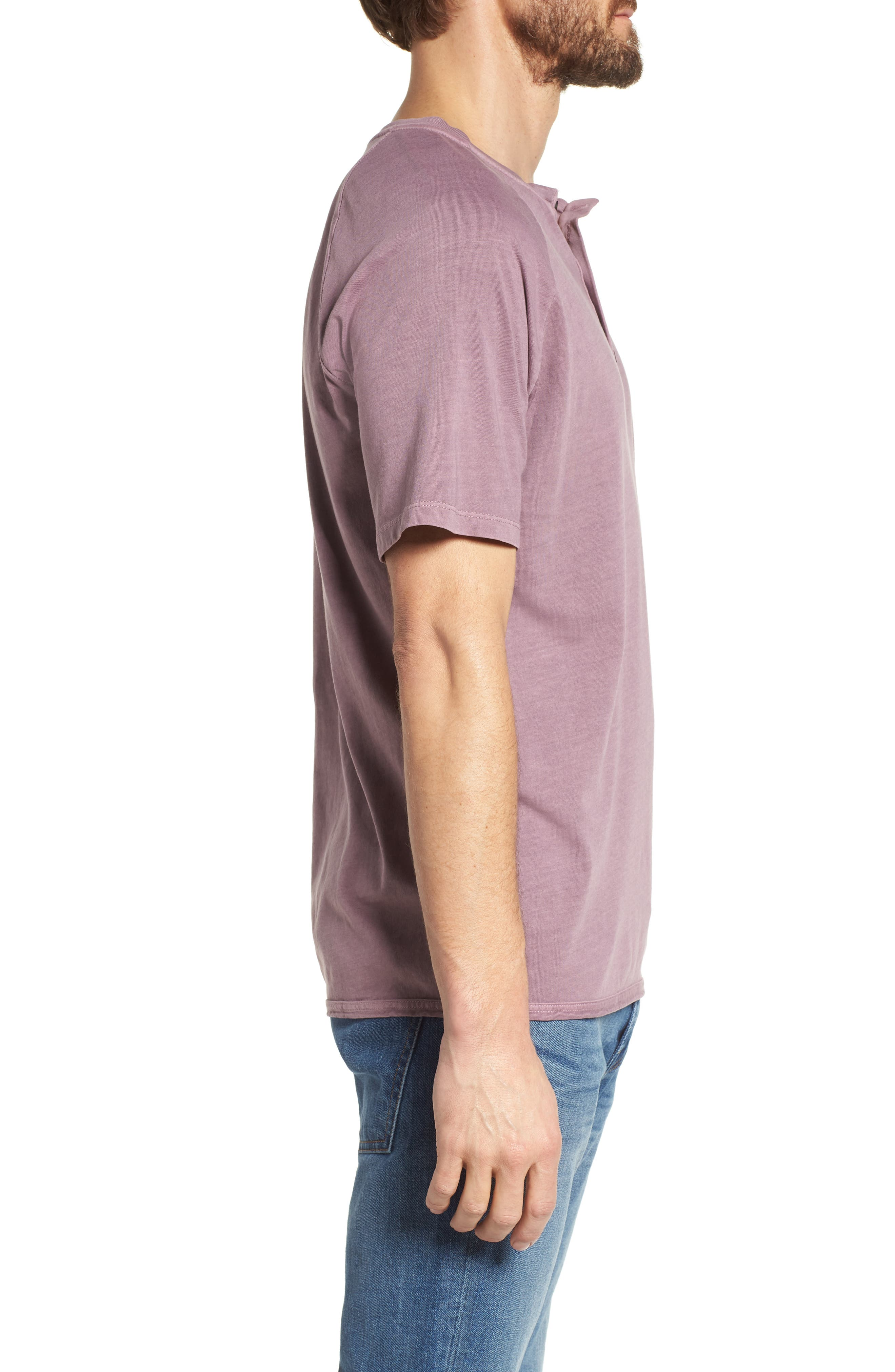Short Sleeve Henley,                             Alternate thumbnail 3, color,                             Wild Rose