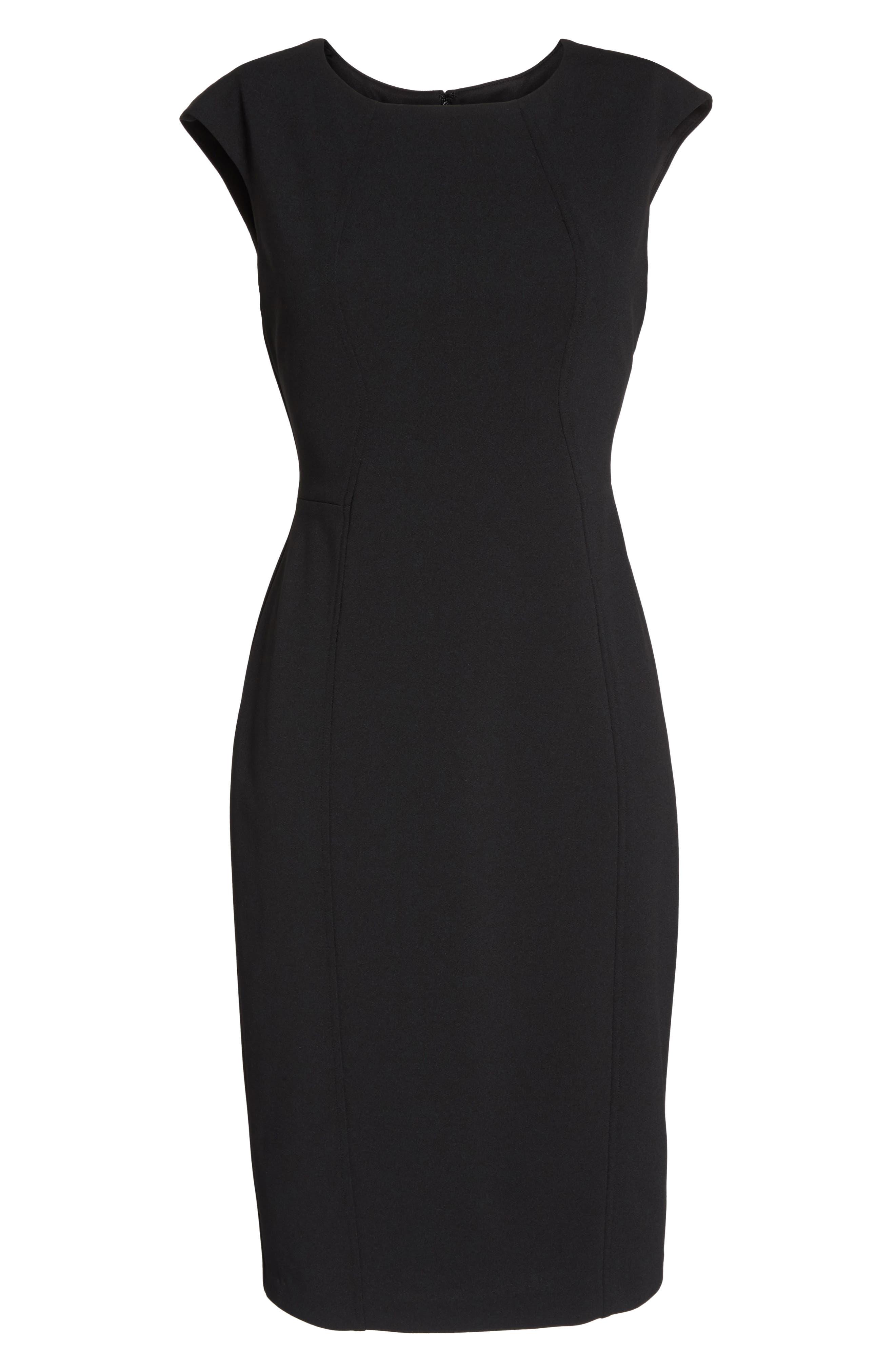 Scuba Crepe Sheath Dress,                             Alternate thumbnail 6, color,                             Black