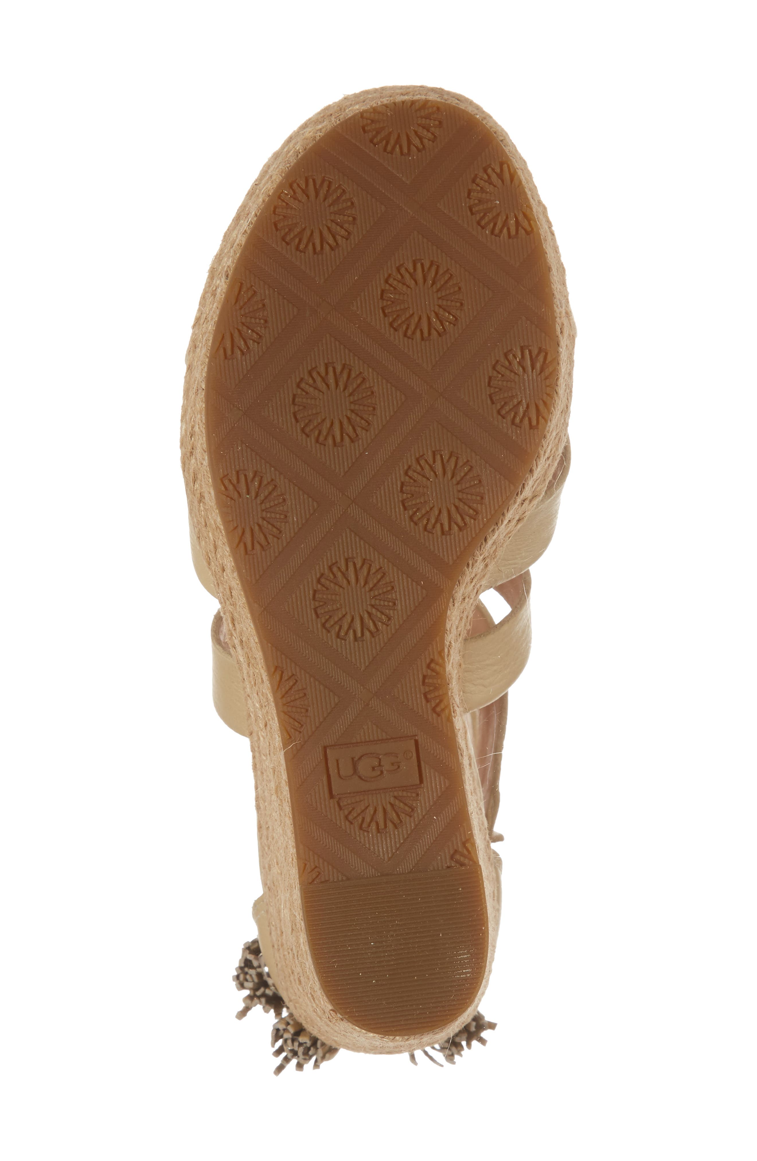 Raquel Platform Wedge Sandal,                             Alternate thumbnail 6, color,                             Soft Gold Leather