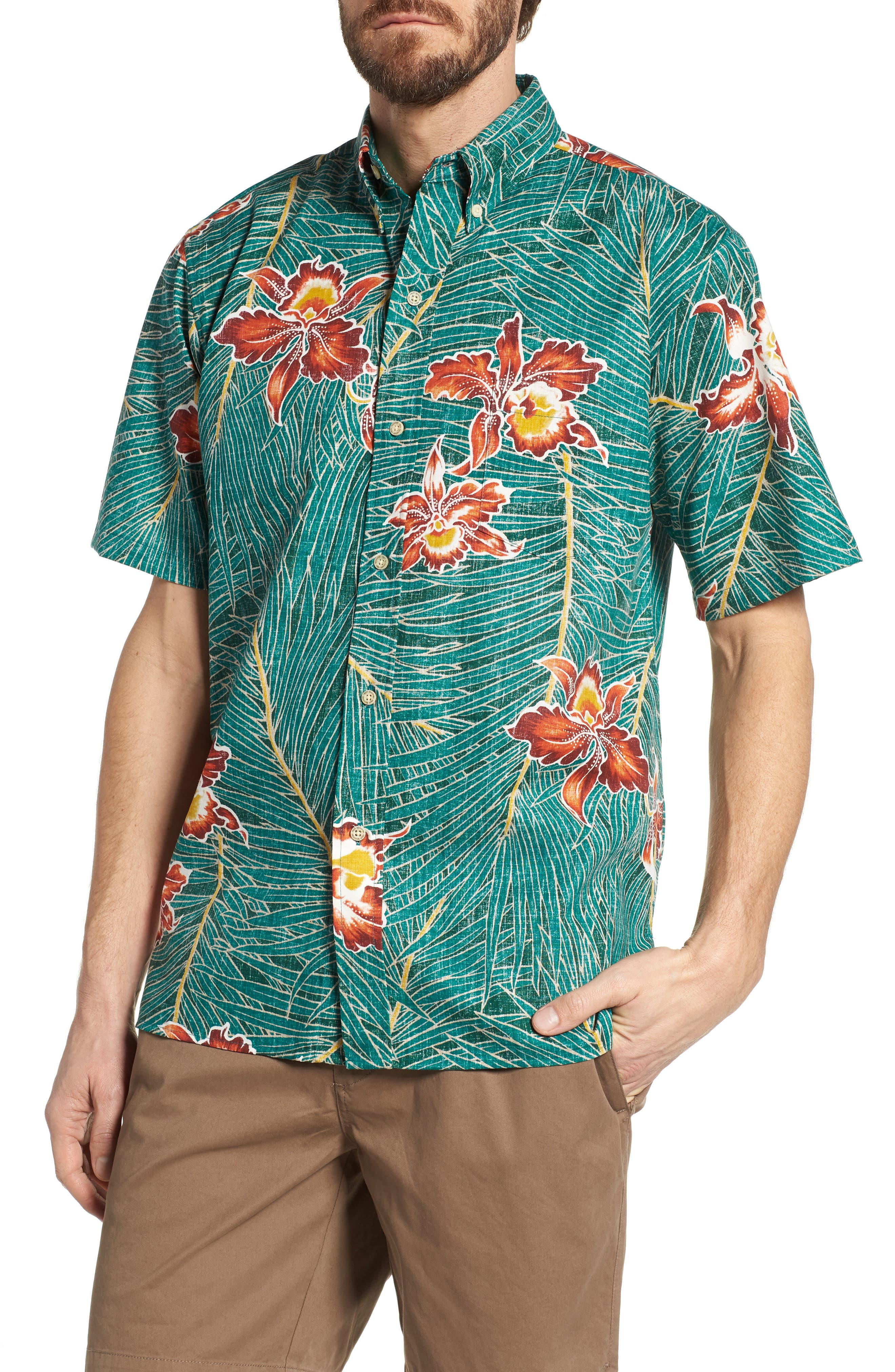 Okika Oasis Traditional Fit Sport Shirt,                         Main,                         color, Emerald