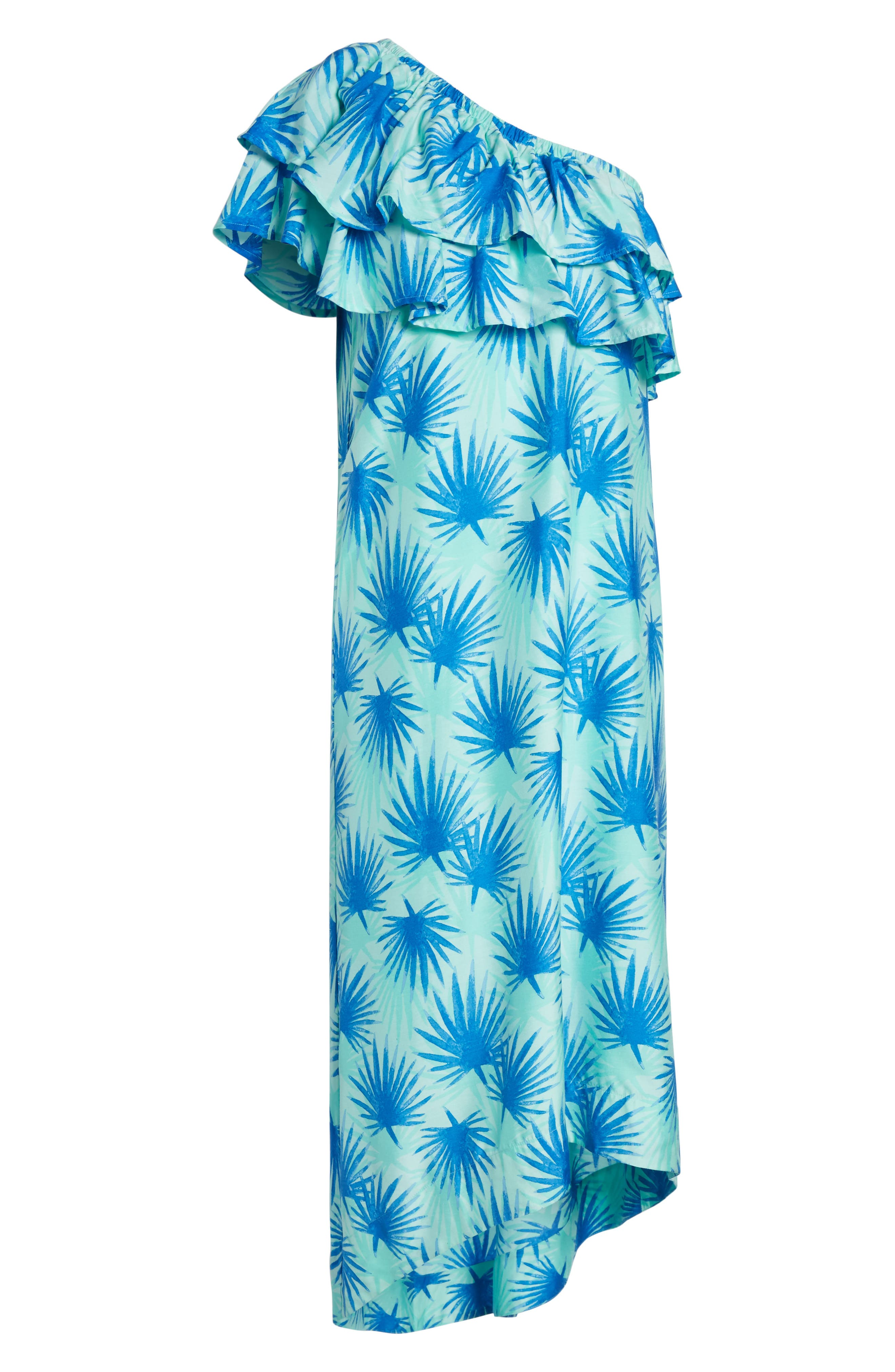 Electric Palm One-Shoulder Silk Blend Dress,                             Alternate thumbnail 6, color,                             Aquamarine