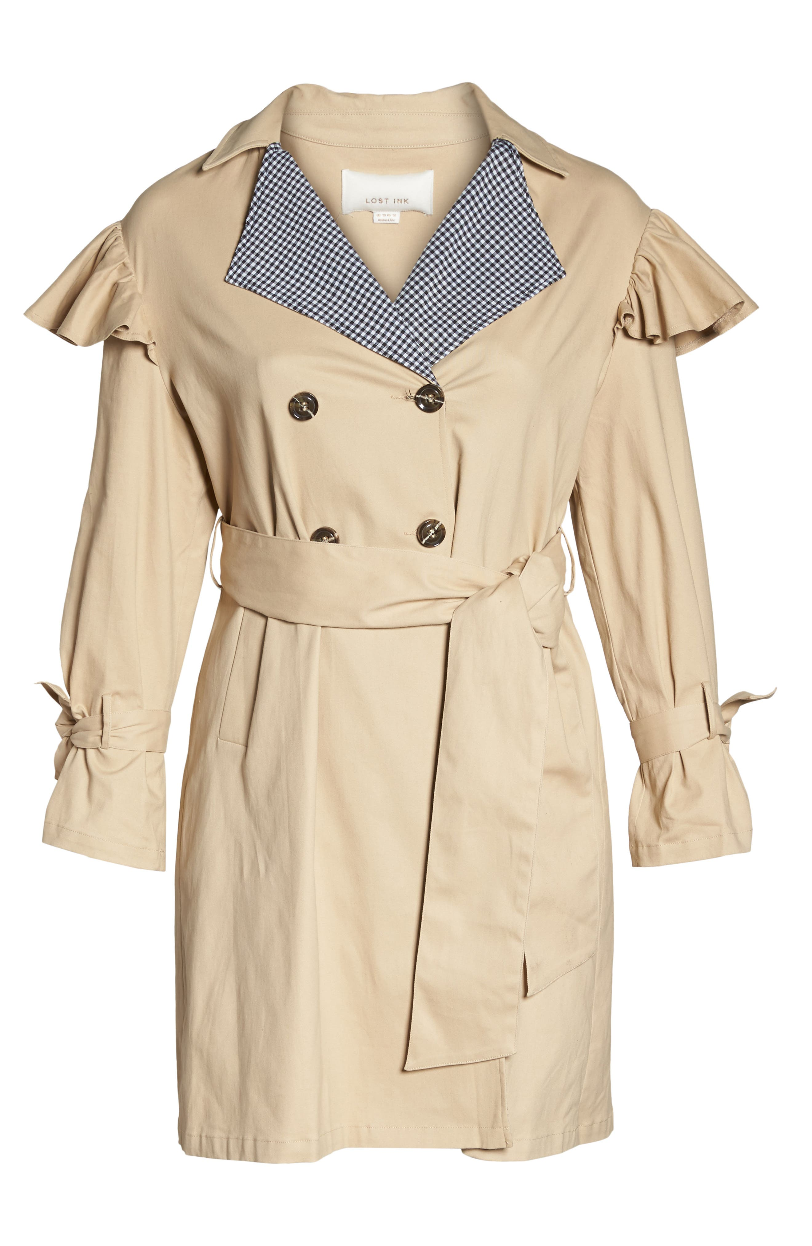 Gingham Trim Ruffle Trench,                             Alternate thumbnail 6, color,                             Beige
