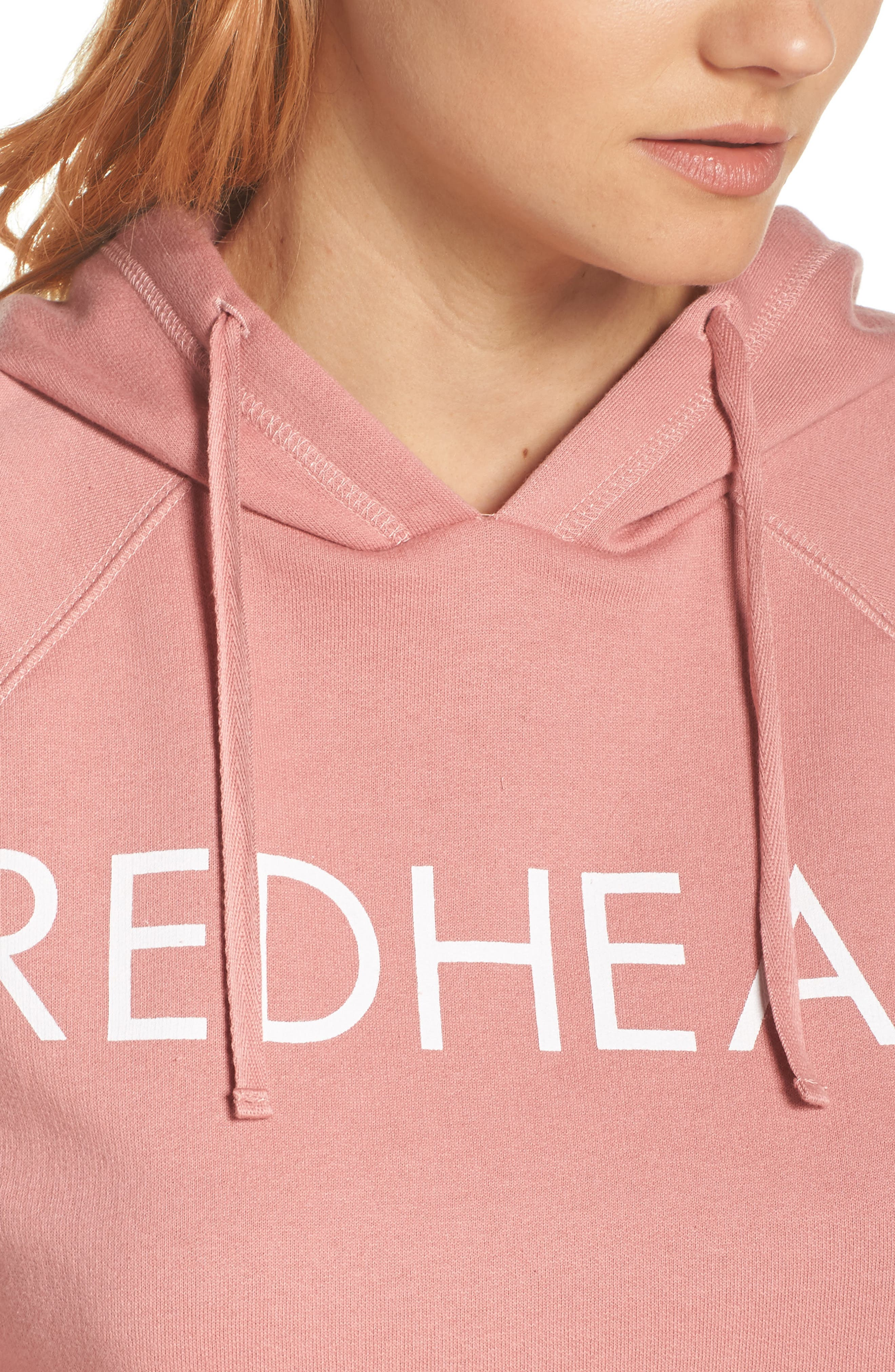 Redhead Raw Hem Hoodie,                             Alternate thumbnail 5, color,                             Dusty Rose