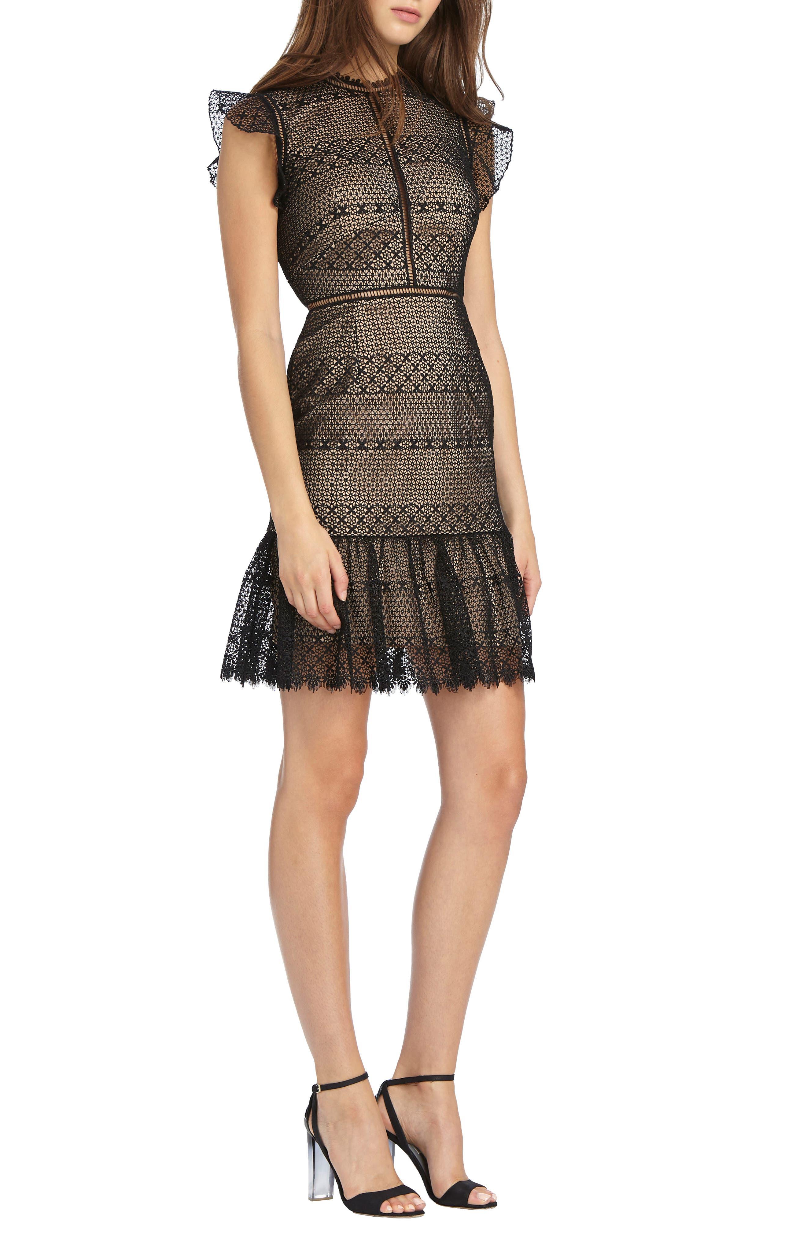 Flounce Hem Lace Dress,                             Main thumbnail 1, color,                             Black Nude