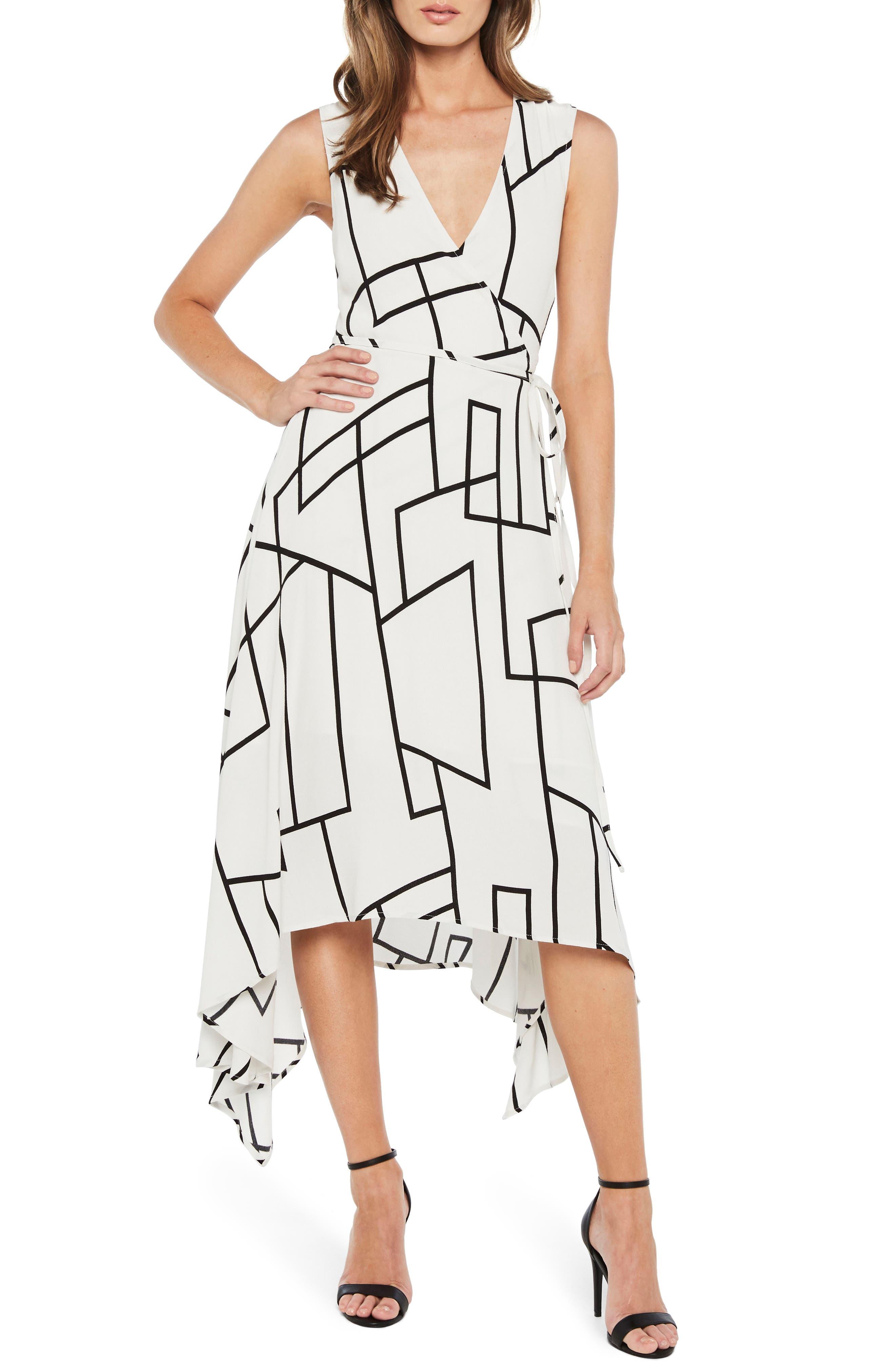 Asymmetrical Wrap Dress,                         Main,                         color, Multi